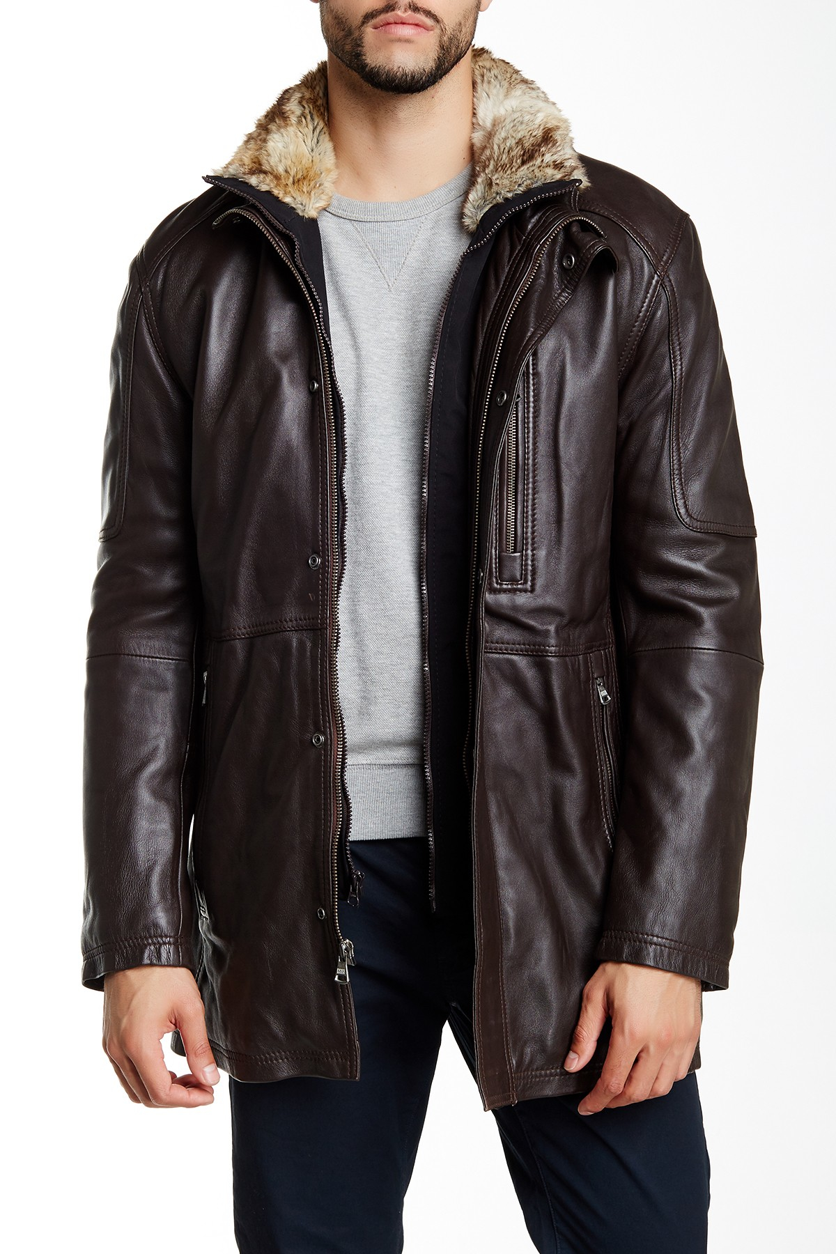 Marc New York Stuyvesant Genuine Leather Faux Fur Trimmed