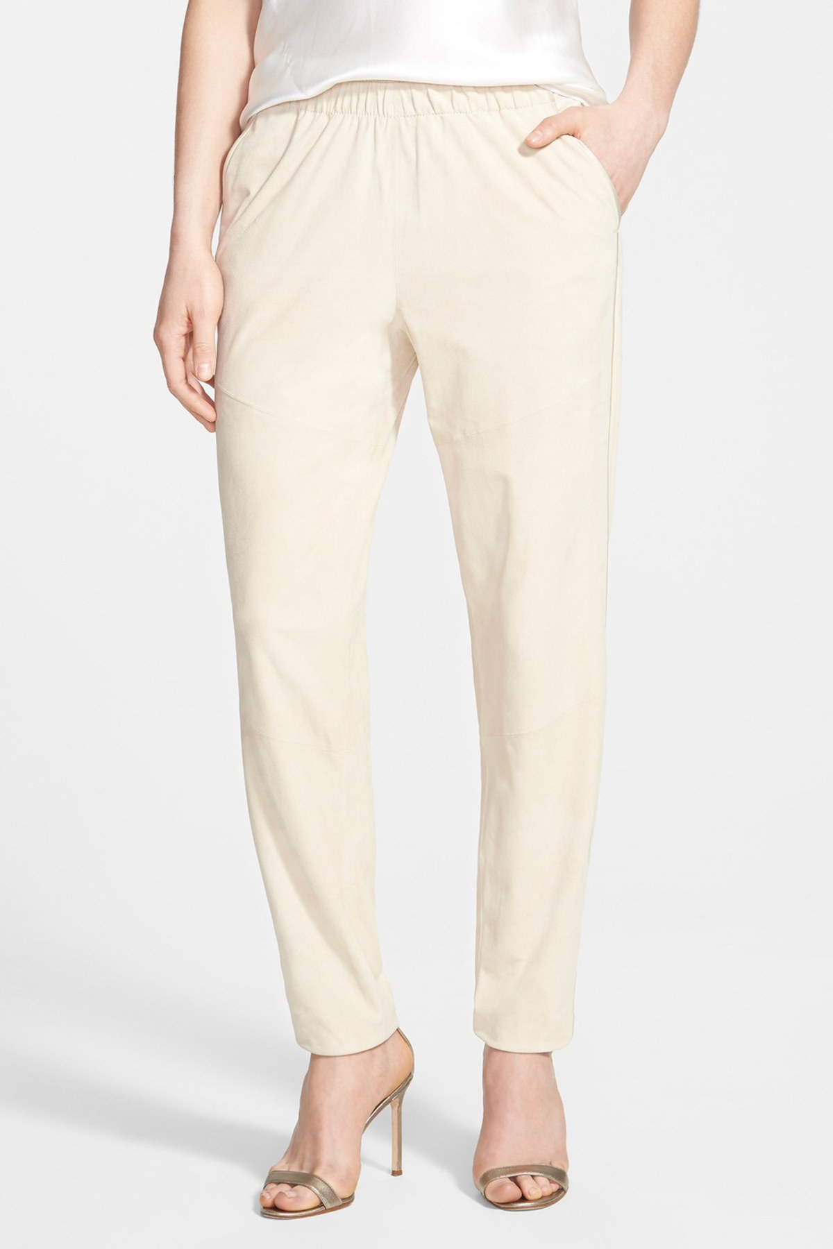 Lafayette 148 new york Genuine Suede Track Pants With ...