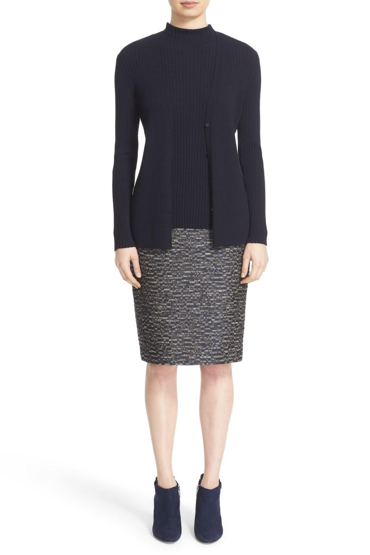 Lafayette 148 New York Ribbed V Neck Cardigan In Blue Lyst