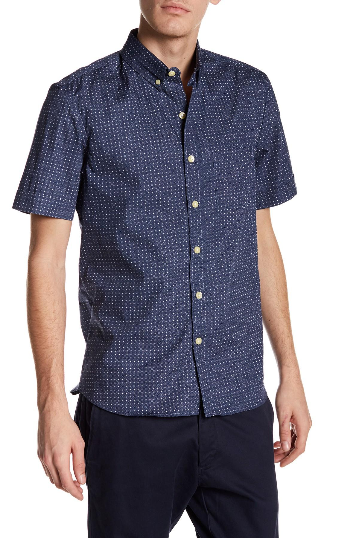 Kennington polka dot short sleeve woven shirt in blue for for Mens polka dot shirt short sleeve
