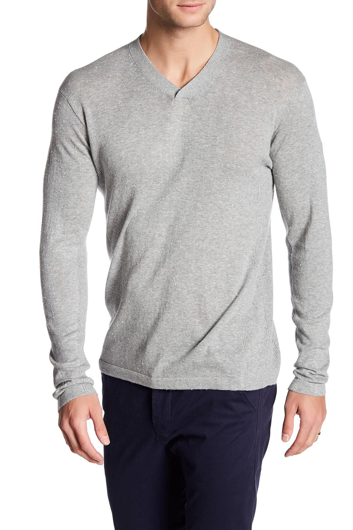 Autumn cashmere Ribbed V-neck Sweater in Gray for Men