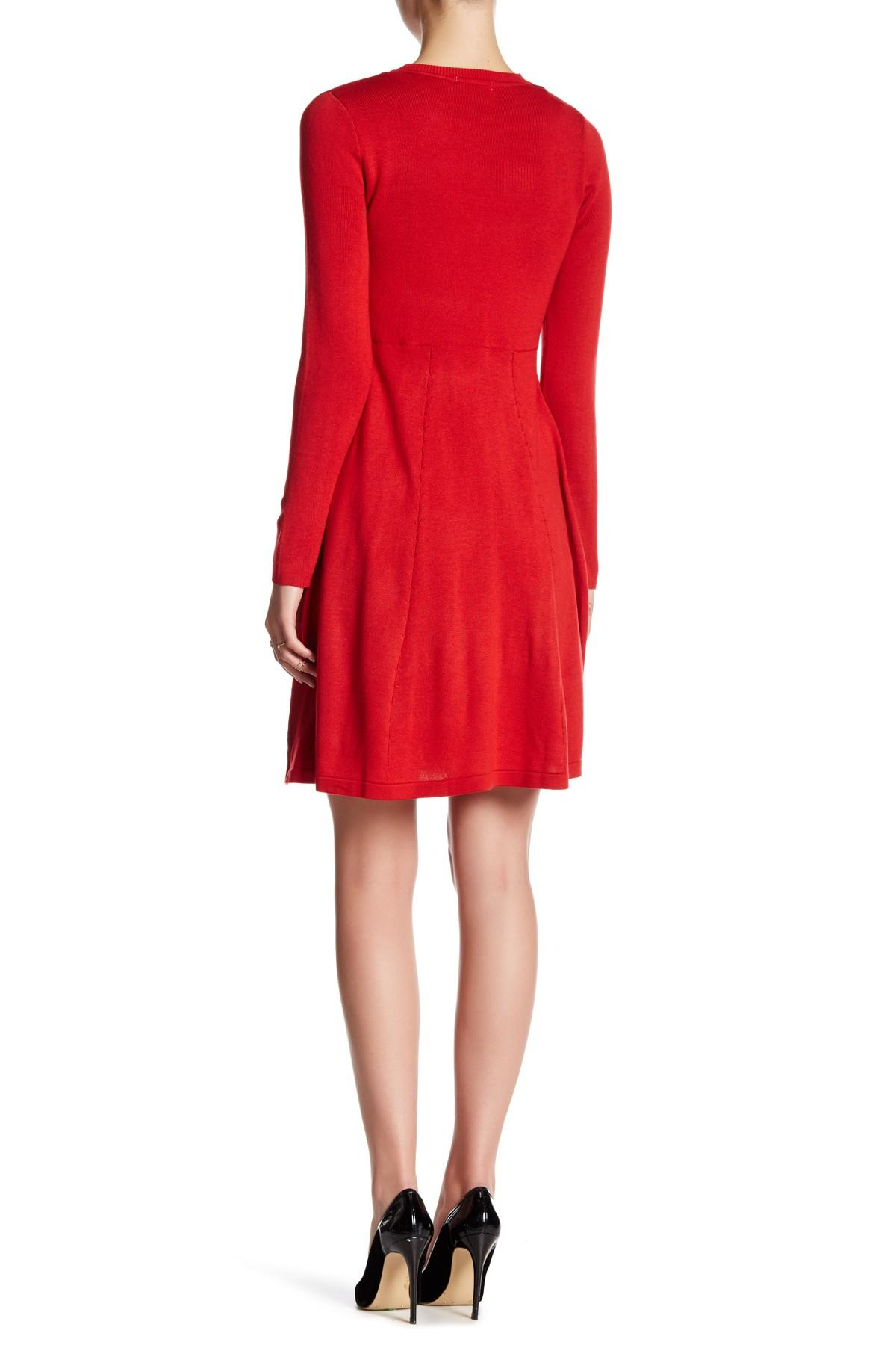 Eliza J Long Sleeve Bow Fit Amp Flare Sweater Dress In Red