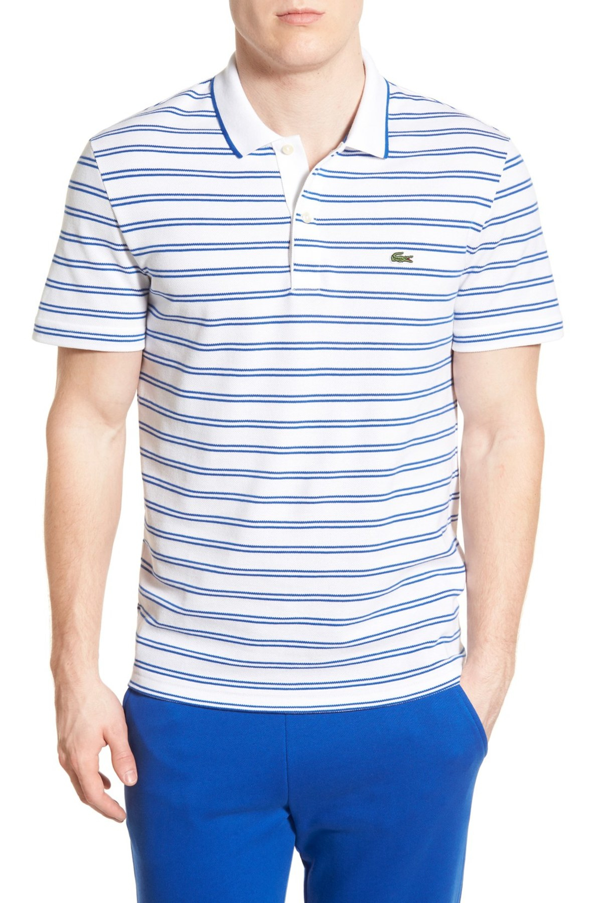 Lacoste stripe jersey pique polo in blue for men lyst for Lacoste stripe pique polo shirt