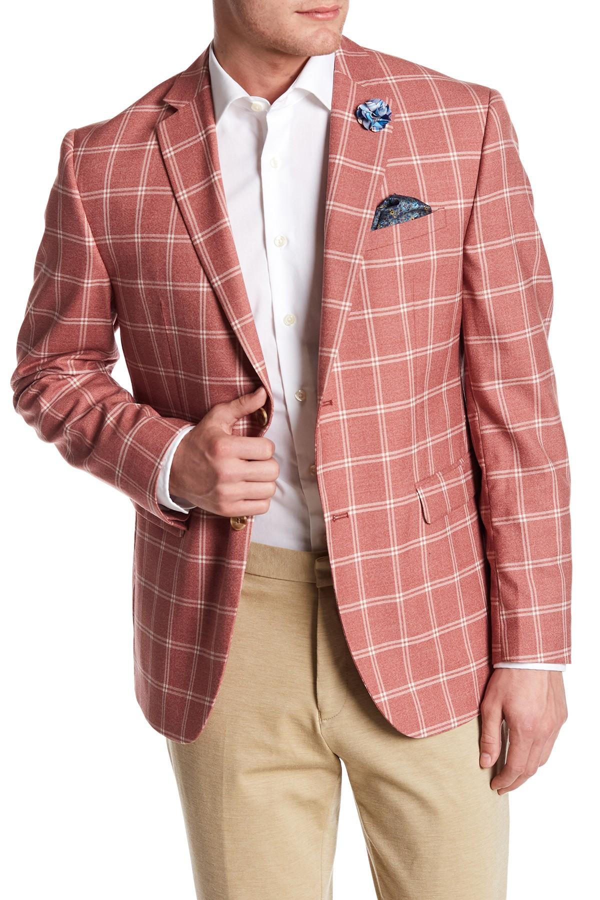 Original Penguin Red Windowpane Two Button Notch Lapel