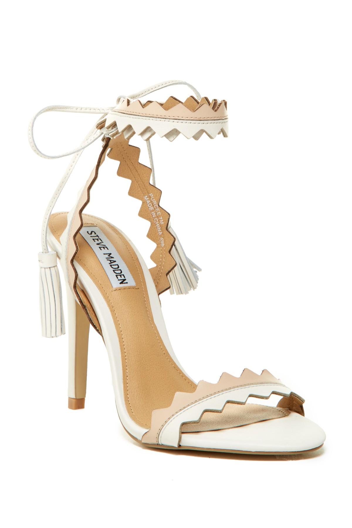 4c76355d300 Lyst - Steve Madden Purcee Heel Sandal in Natural