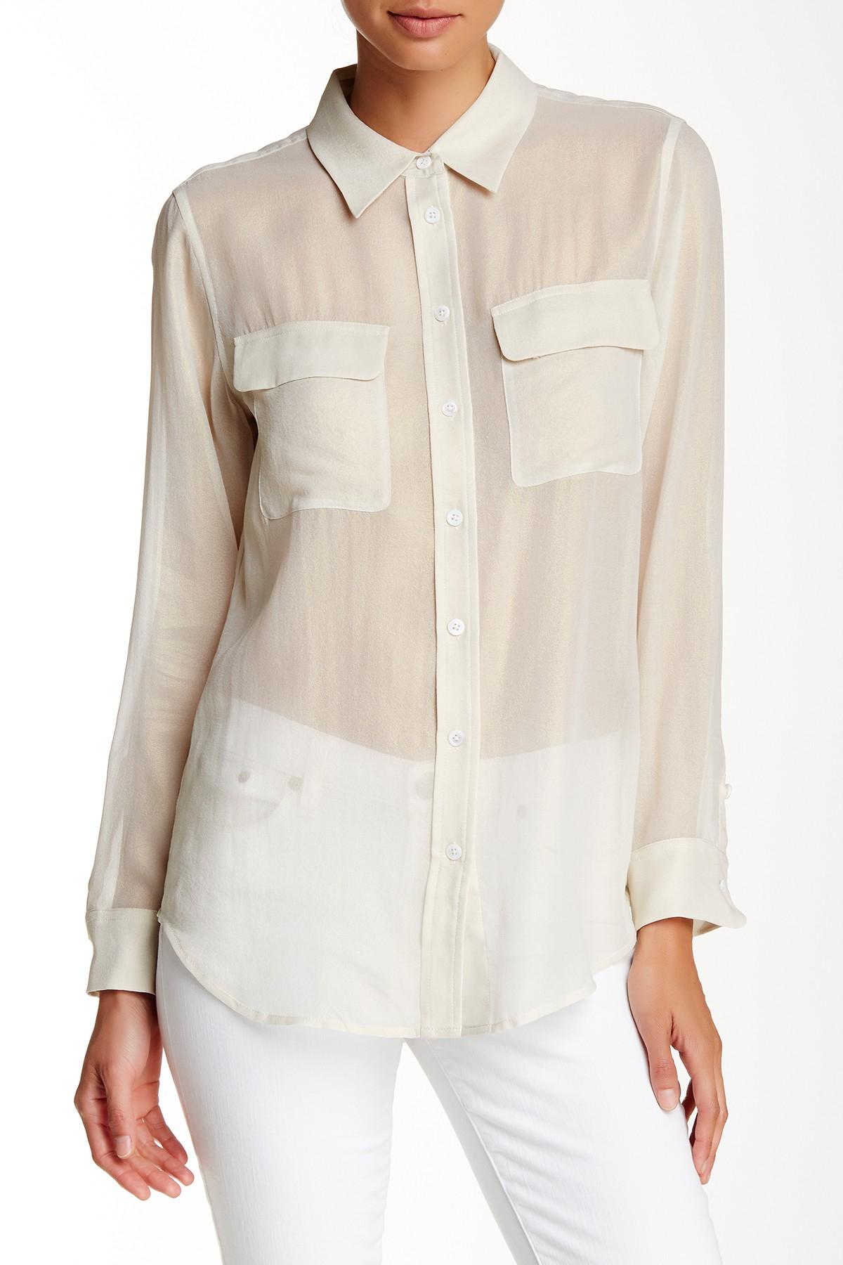 Equipment slim signature sheer silk shirt in multicolor for Equipment signature silk shirt
