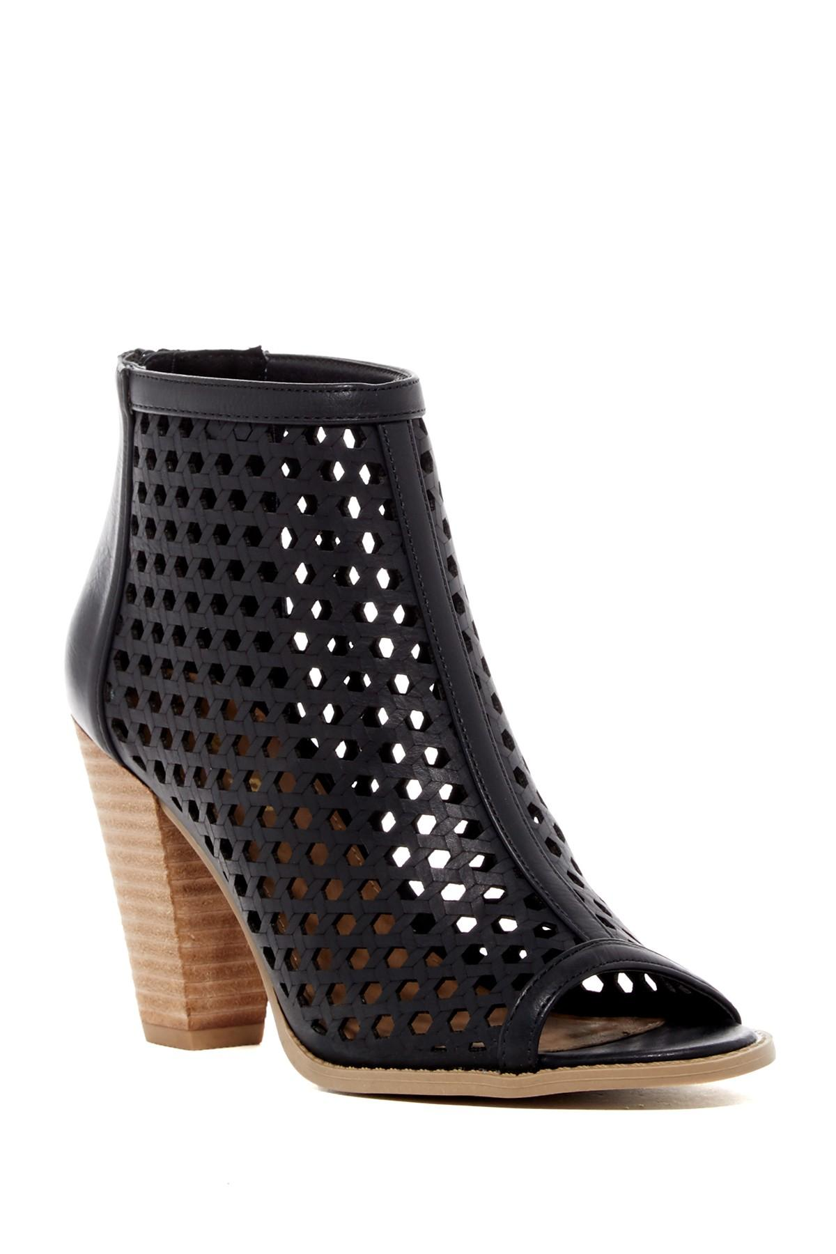 Report Ronan Perforated Peep Toe Bootie In Black Lyst