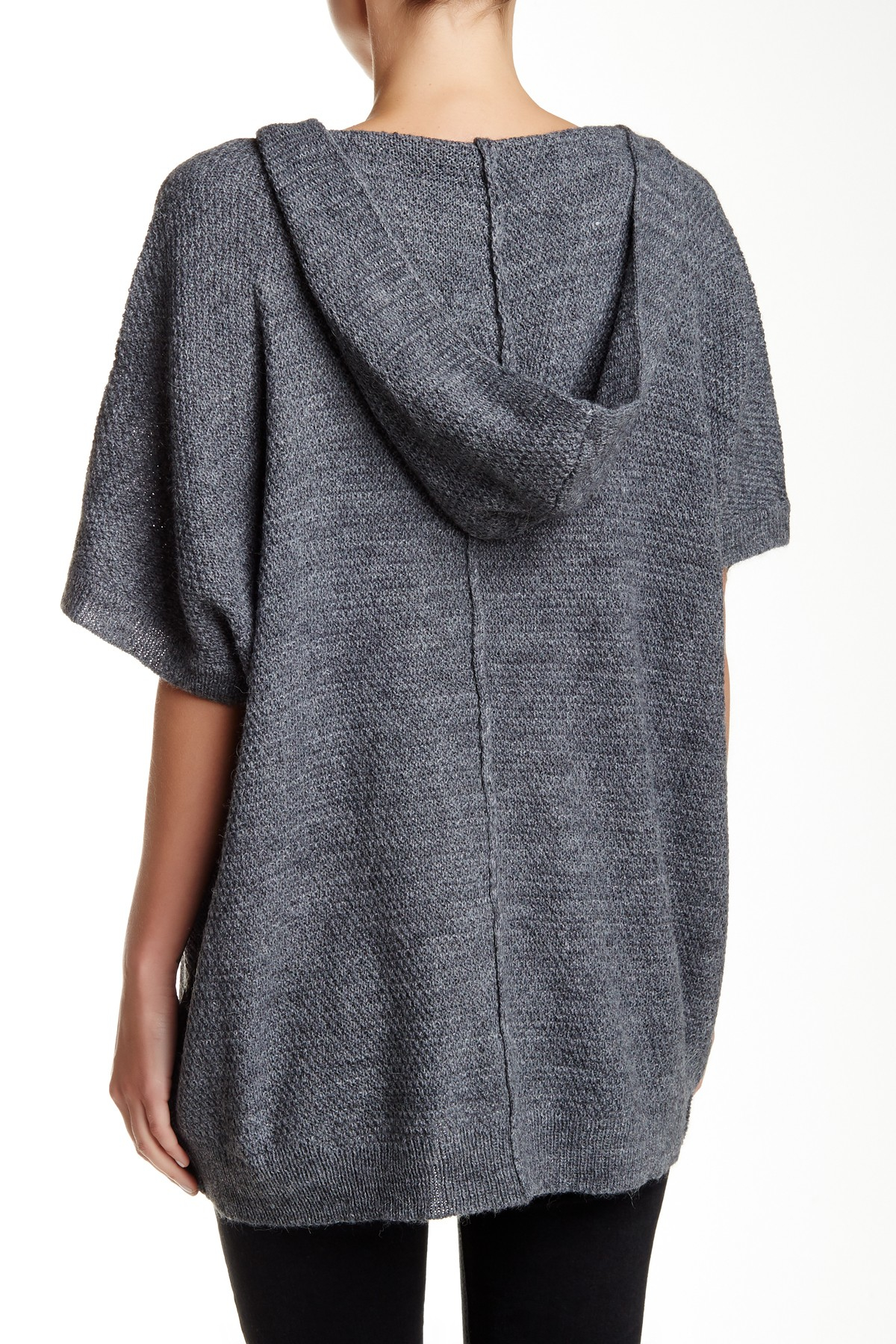 Splendid Short Sleeve Hooded Cardigan in Gray | Lyst