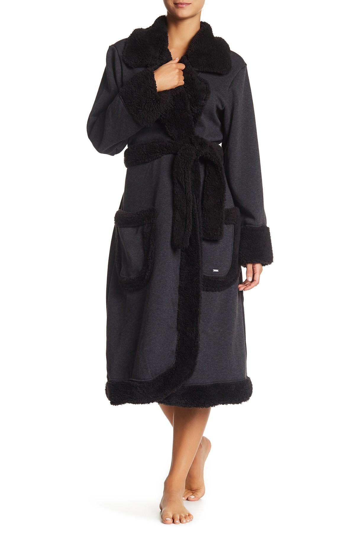 ugg duffield deluxe fleece robe in black lyst. Black Bedroom Furniture Sets. Home Design Ideas