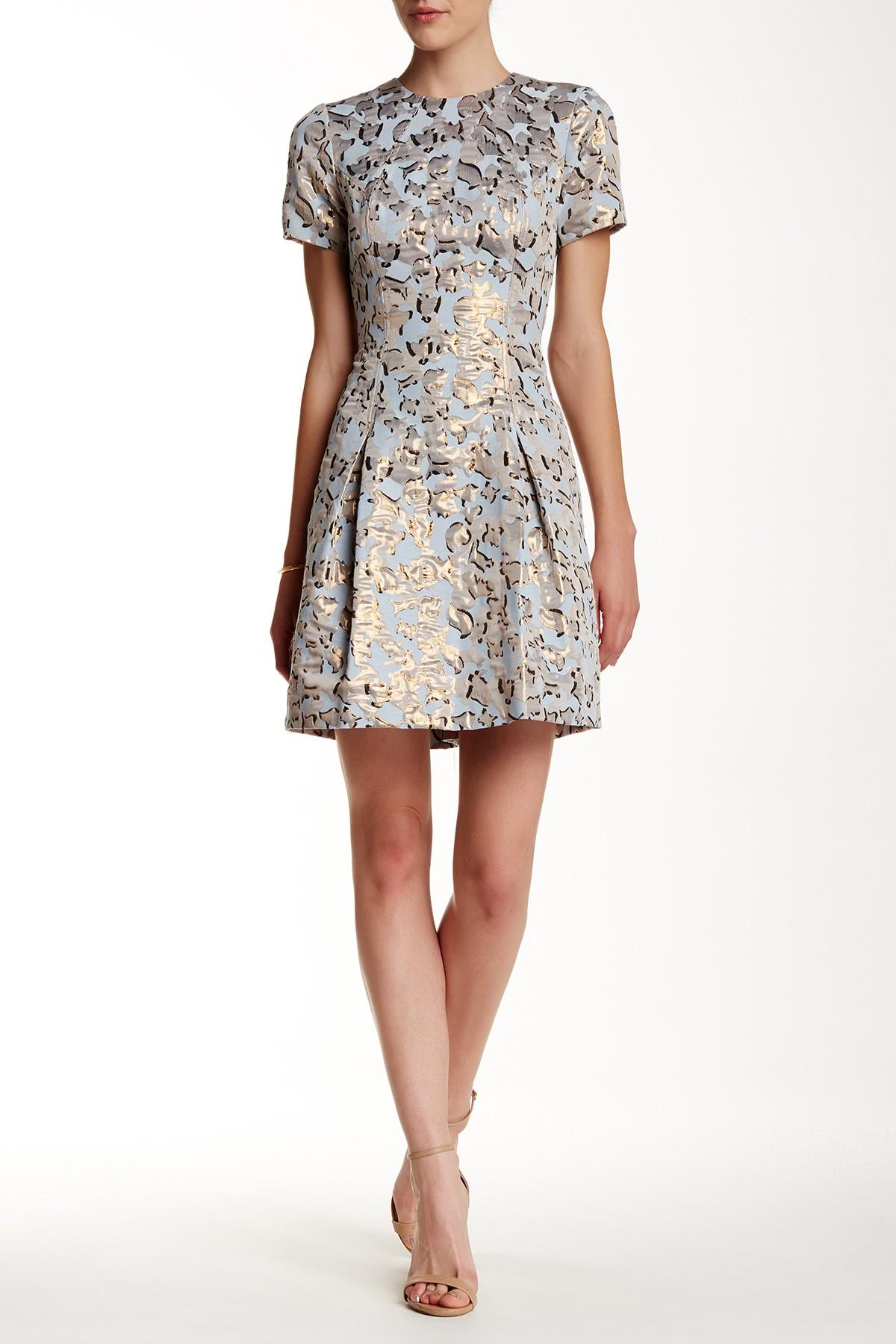 Lyst Vince Camuto Jacquard Fit Amp Flare Dress