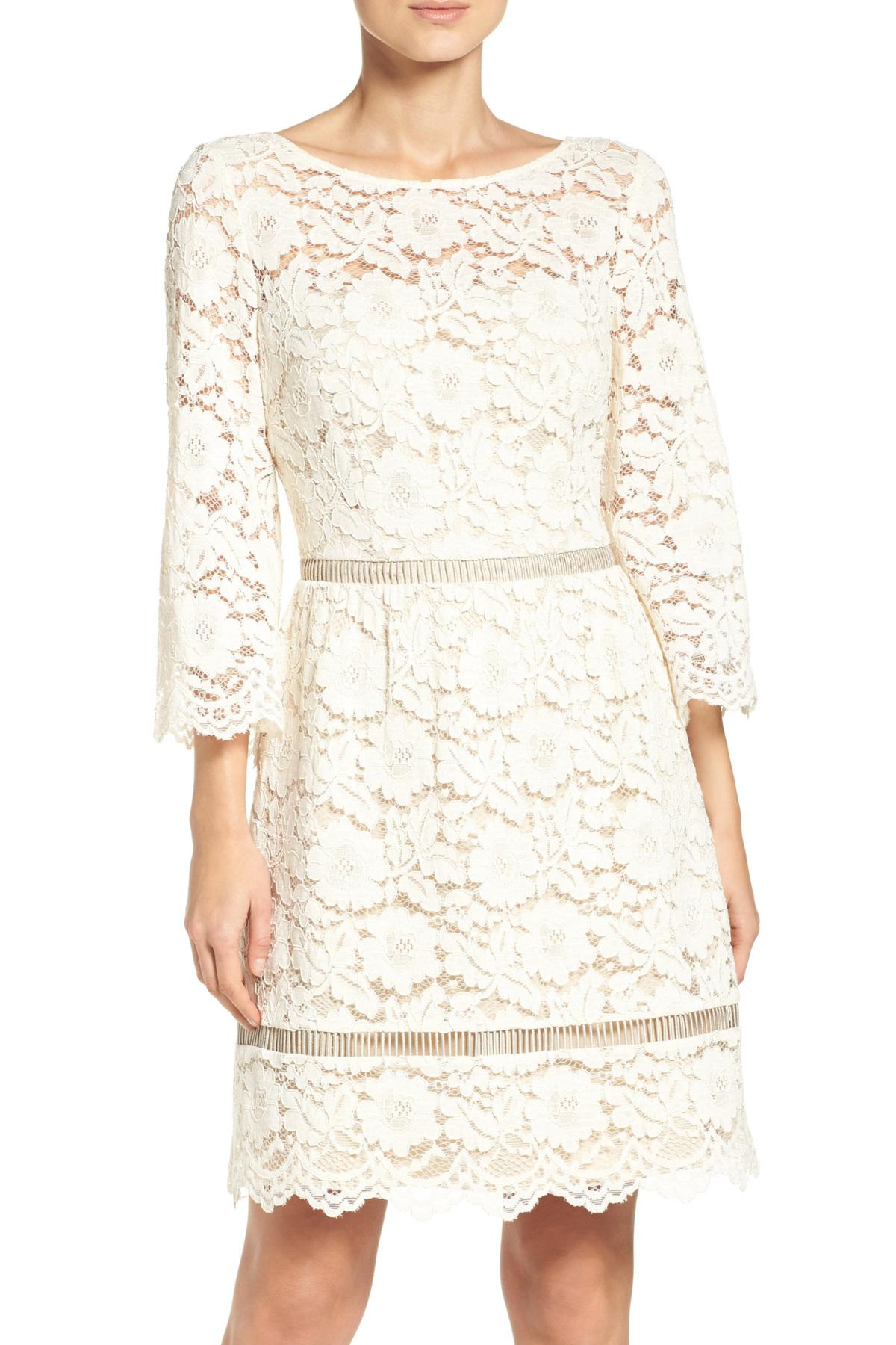 Lyst Vince Camuto Lace Fit Amp Flare Dress In White