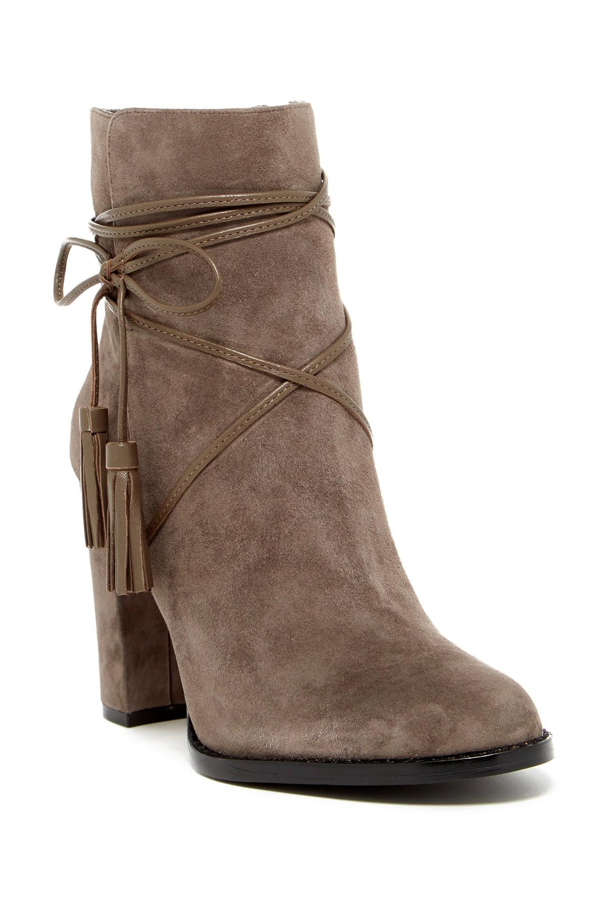 Vince Camuto Garrit Wraparound Lace Bootie In Brown Lyst