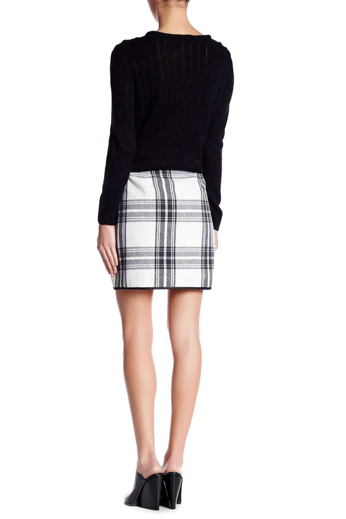 joe fresh plaid faux leather mini skirt in white lyst