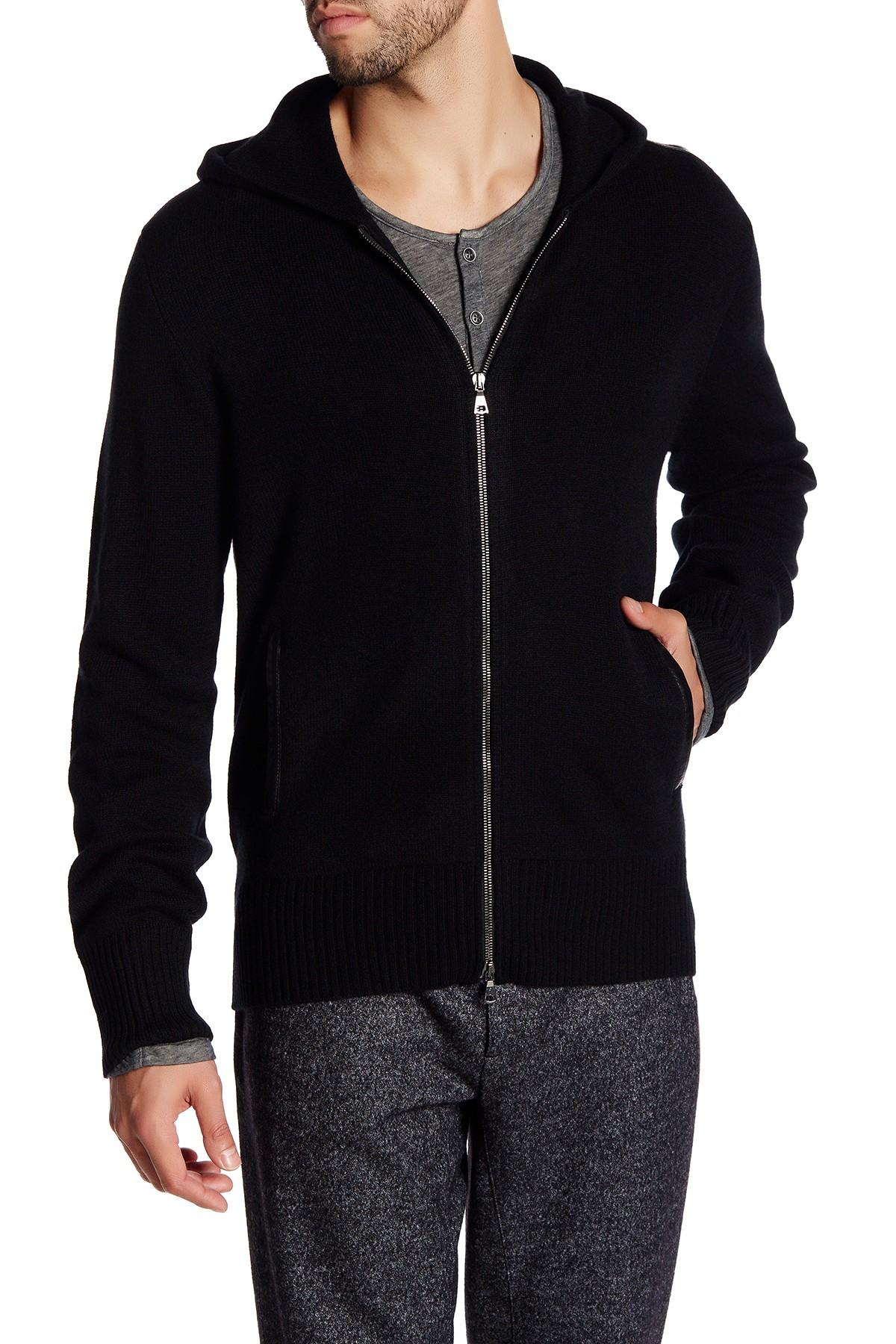 Lyst John Varvatos Genuine Leather Trim Cashmere Hoodie