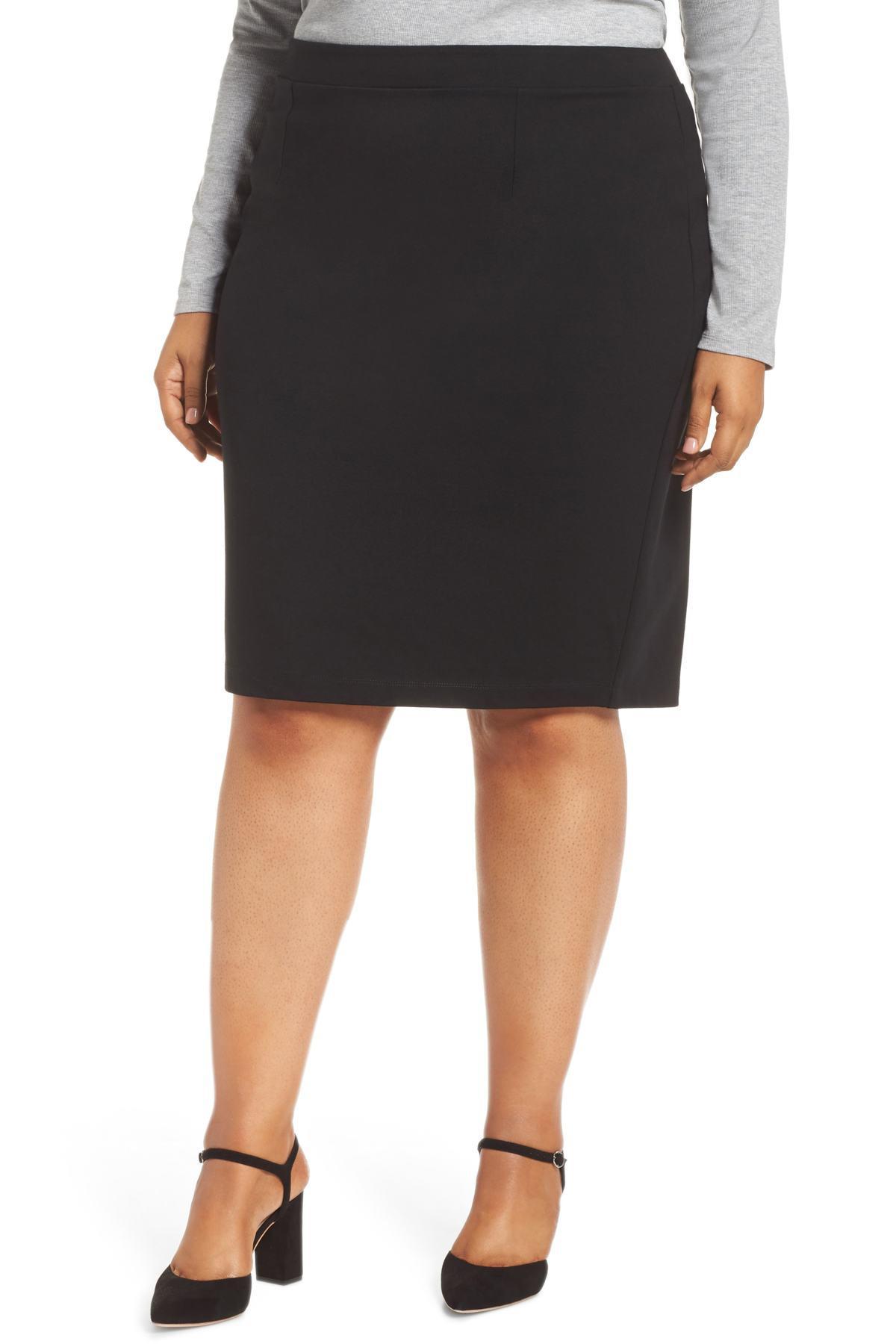 16911b397 Halogen (r) Ponte Pencil Skirt (plus Size) in Black - Lyst
