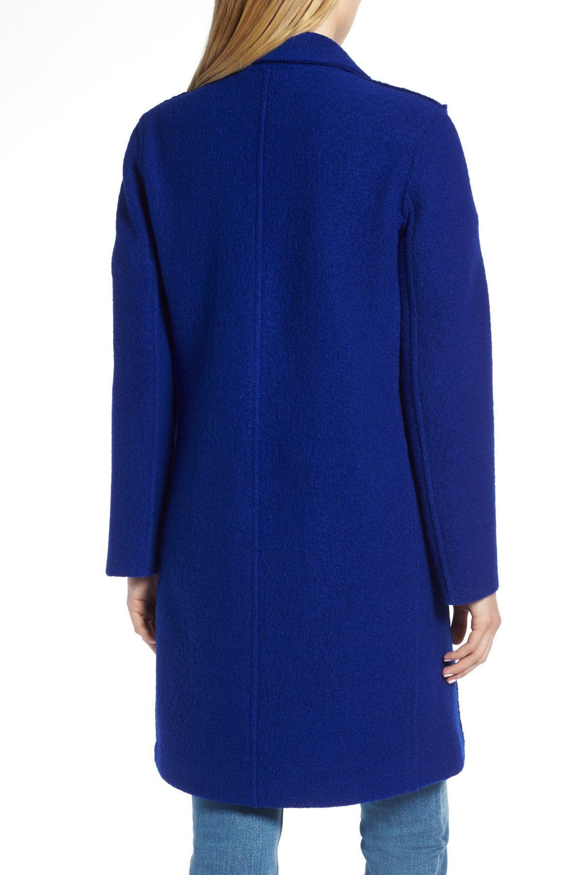 e611463463e Lyst - J.Crew Olga Boiled Wool Topcoat (regular   Petite) in Blue ...