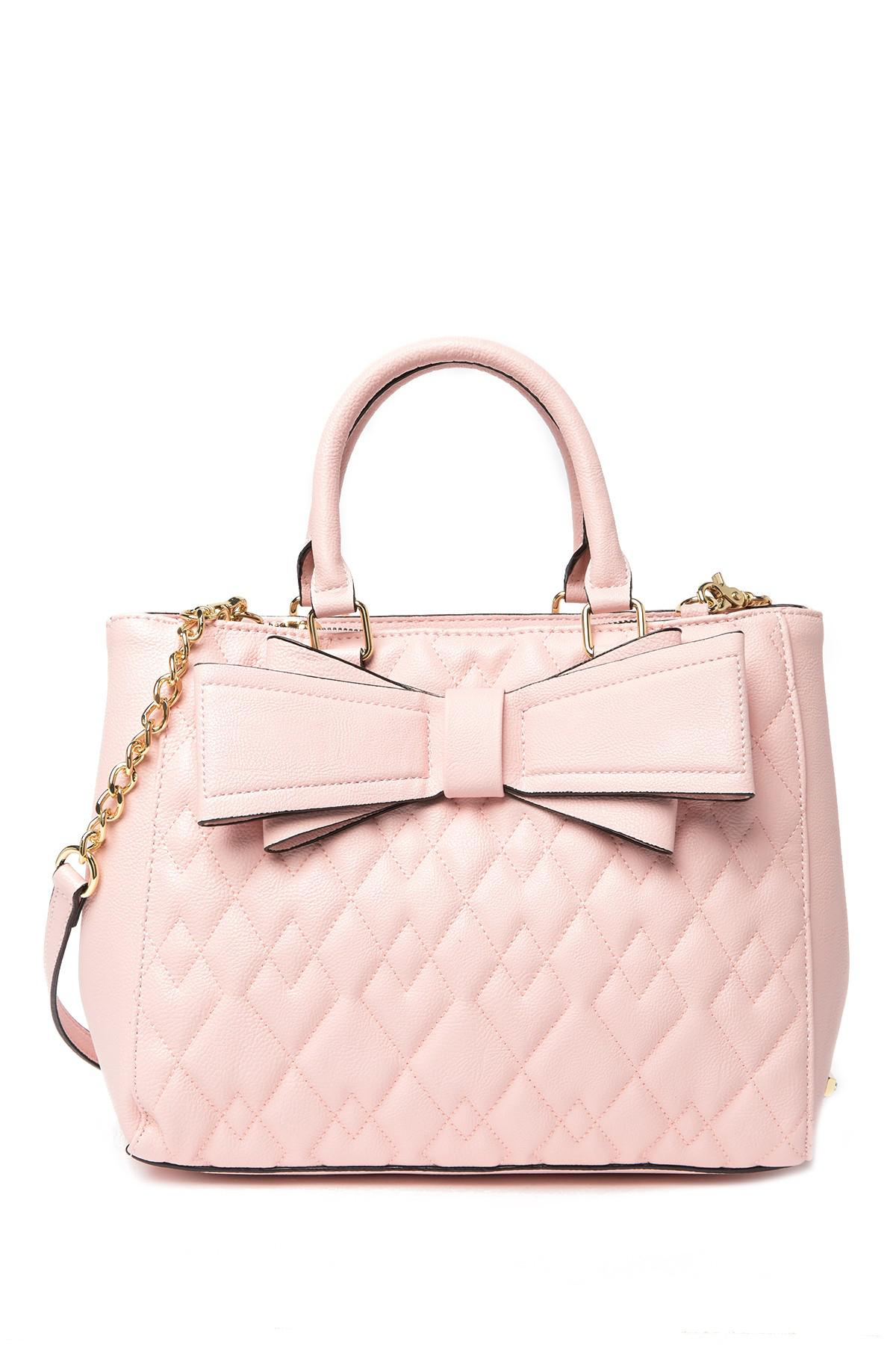 361bc46400 Lyst - Betsey Johnson Diamond Quilted Satchel in Pink