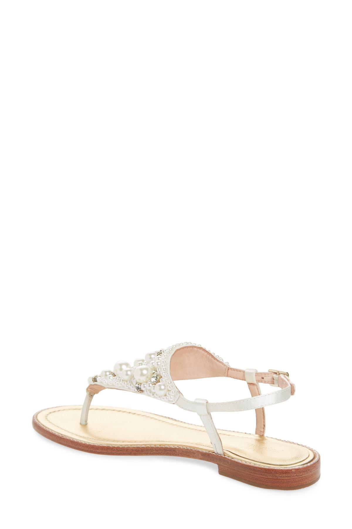 251908355ae4 Lyst - Kate Spade Sama Embellished Thong Sandal (women) in White