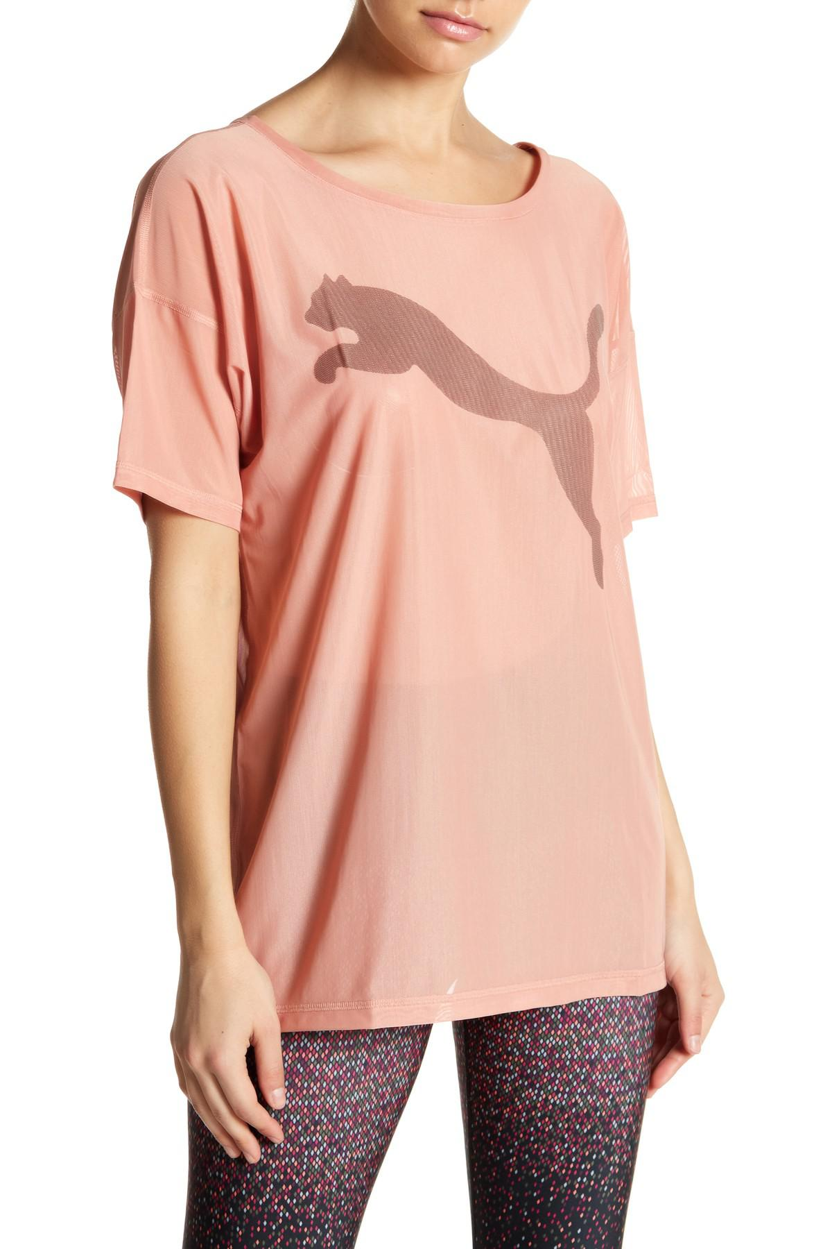0dbca56f77f Lyst - PUMA Dancer Drapey Mesh Tee in Pink