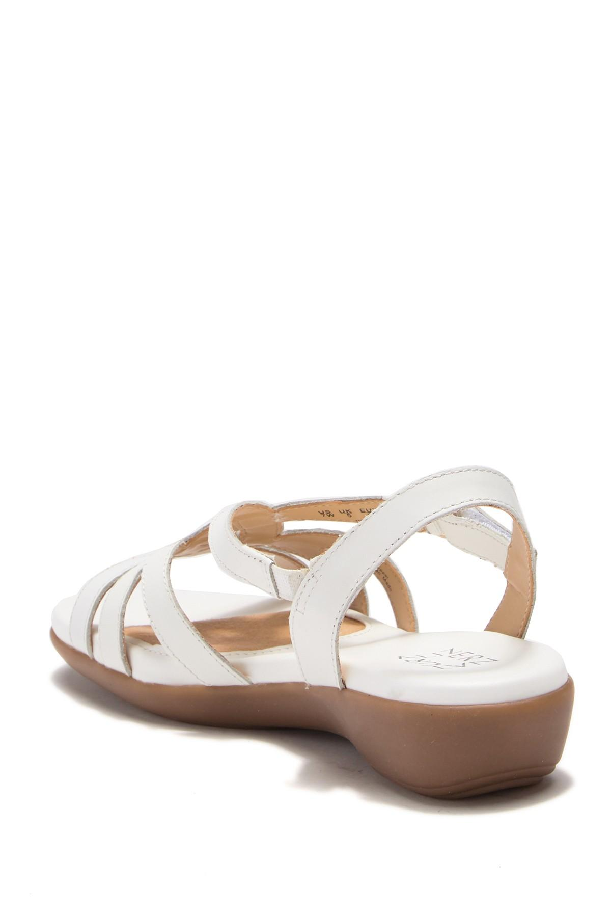 f212f8e4d5e Naturalizer - White Neo Leather Wedge Sandal - Wide Width Available - Lyst.  View fullscreen
