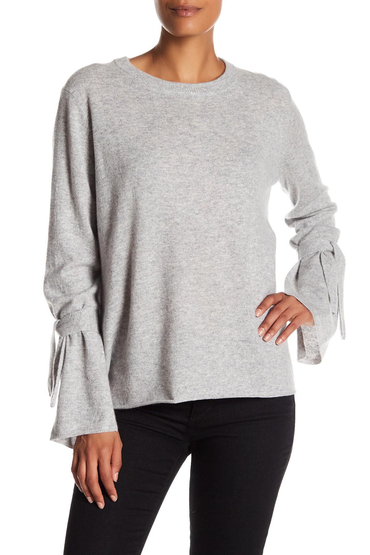 109abb16b Catherine Malandrino Crew Neck Tie Cuff Cashmere Sweater in Gray - Lyst
