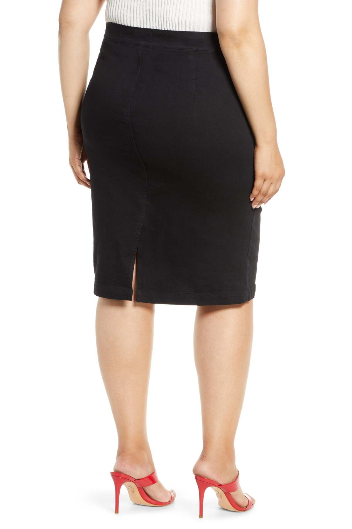 8e211b9898 REBEL WILSON X ANGELS Zip Front Denim Skirt (plus Size) in Black - Lyst