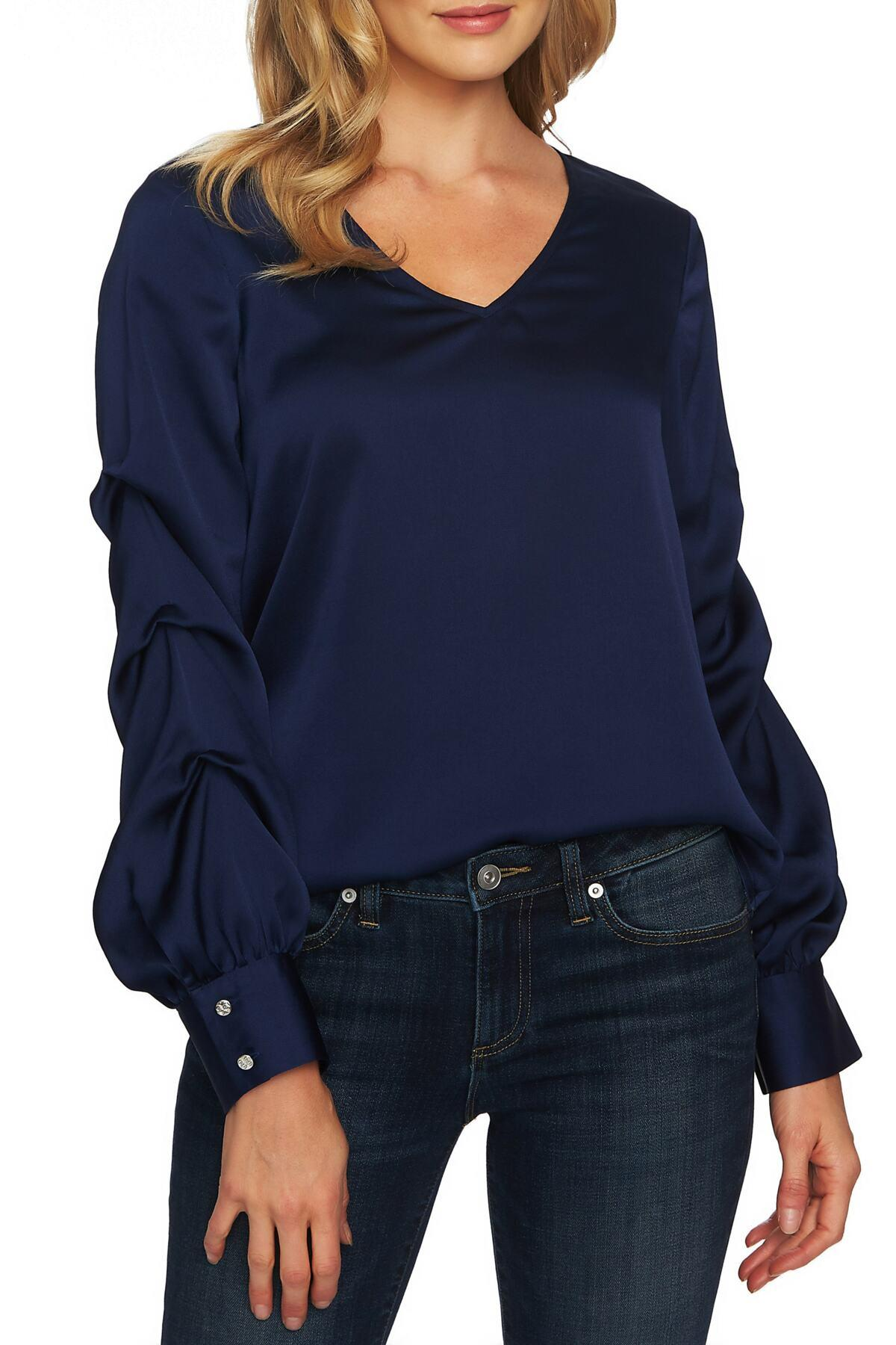 5be189c50713d Lyst - Cece by Cynthia Steffe Drape Sleeve V-neck Blouse in Blue