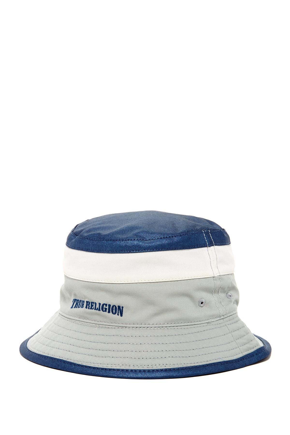 Lyst - True Religion Reversible Colorblock Bucket Hat in Blue for Men 422245552e27
