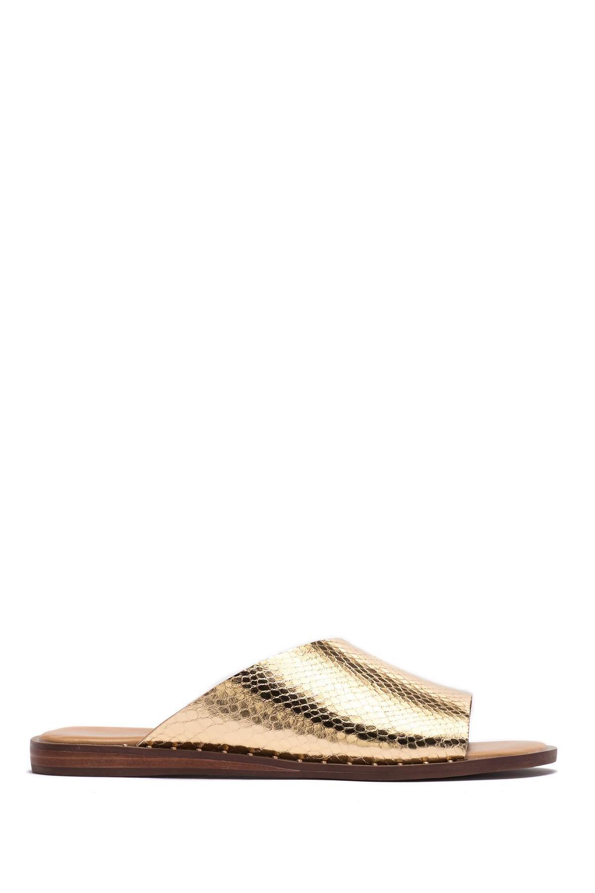 4db686bf36ac Lyst - Franco Sarto Rye Snake Embossed Slide Sandal in Metallic