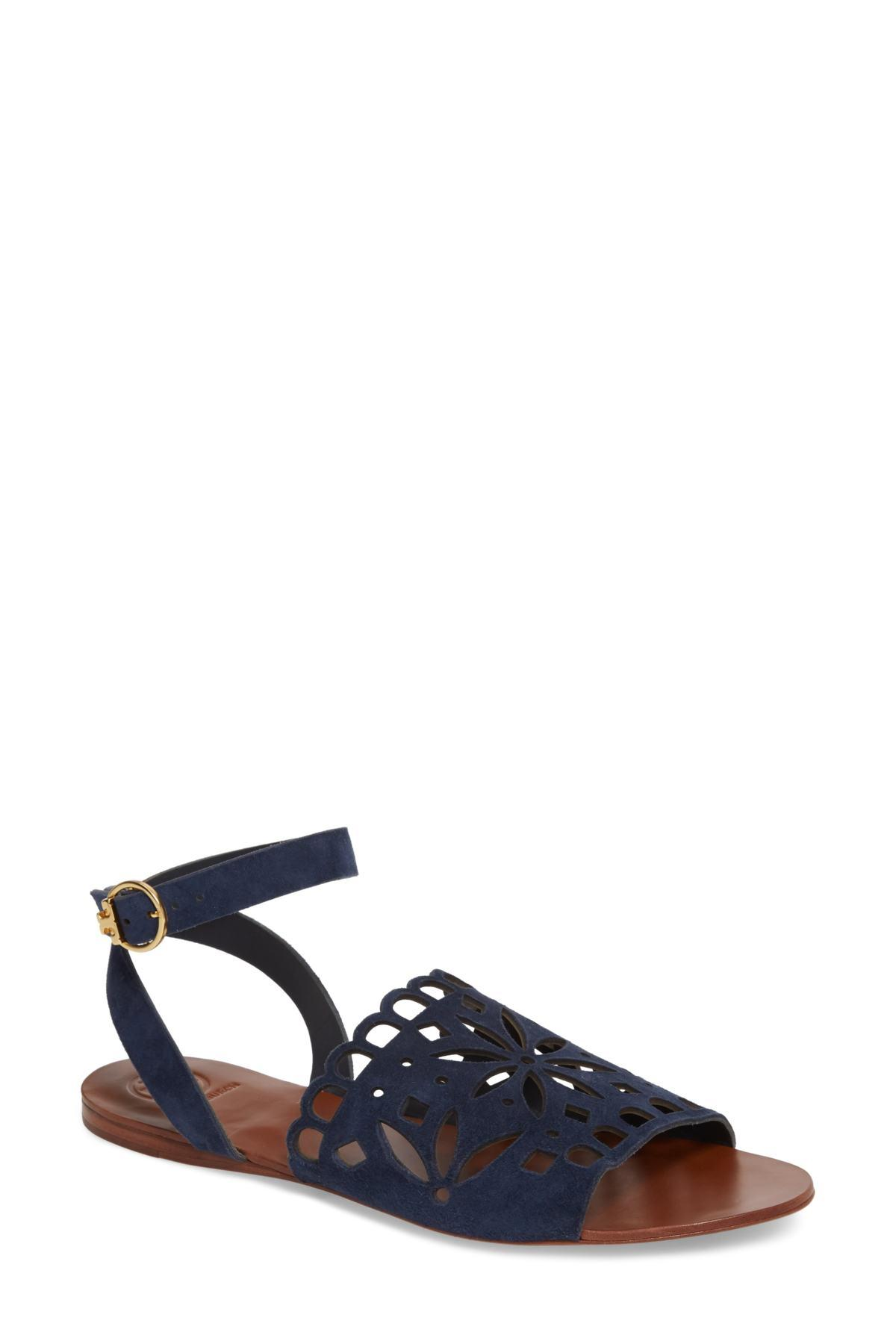 8d3c88f5729c Lyst - Tory Burch May Perforated Ankle Strap Sandal (women) in Blue