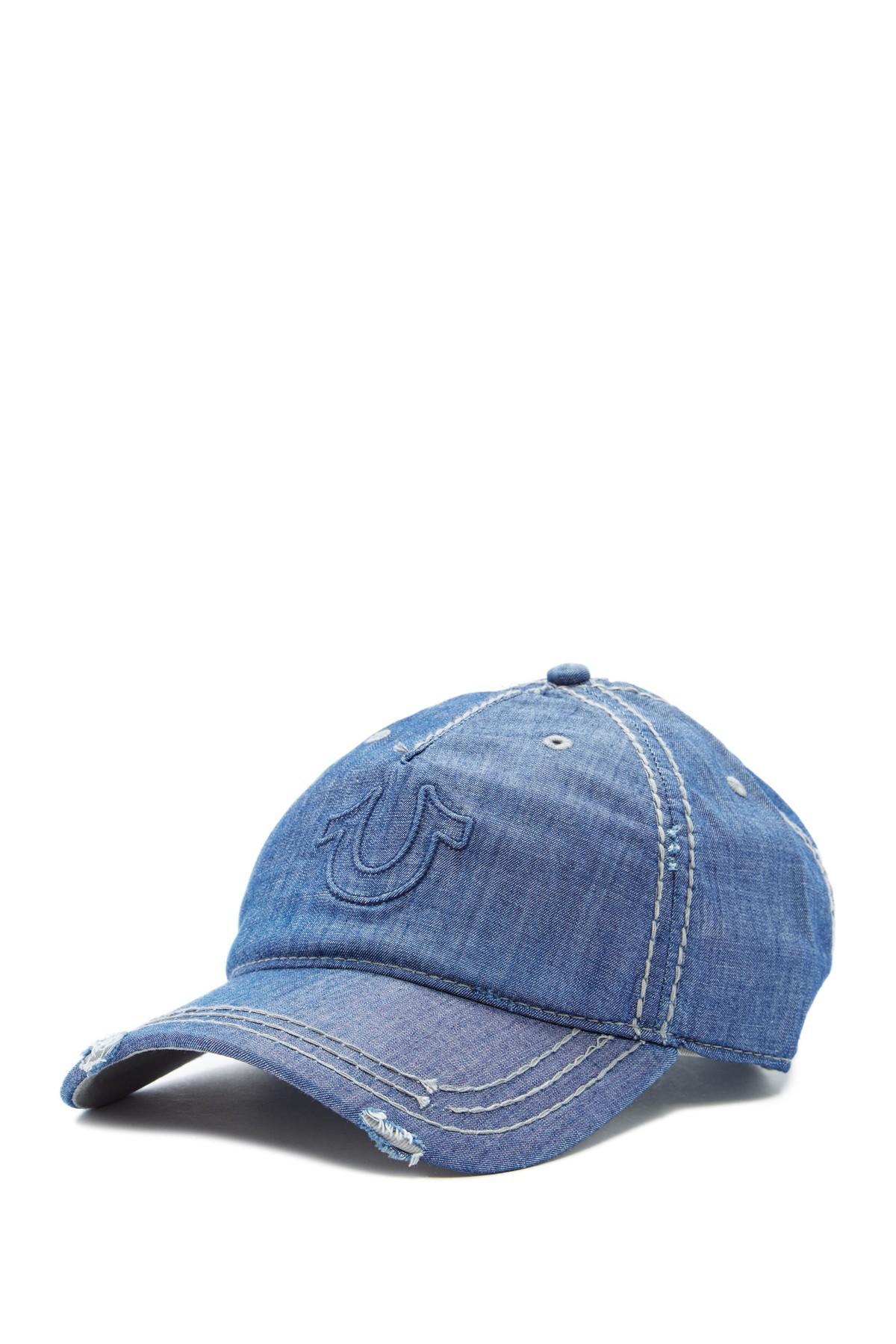 27c2255f Lyst - True Religion Distressed Horseshoe Baseball Cap in Blue for Men