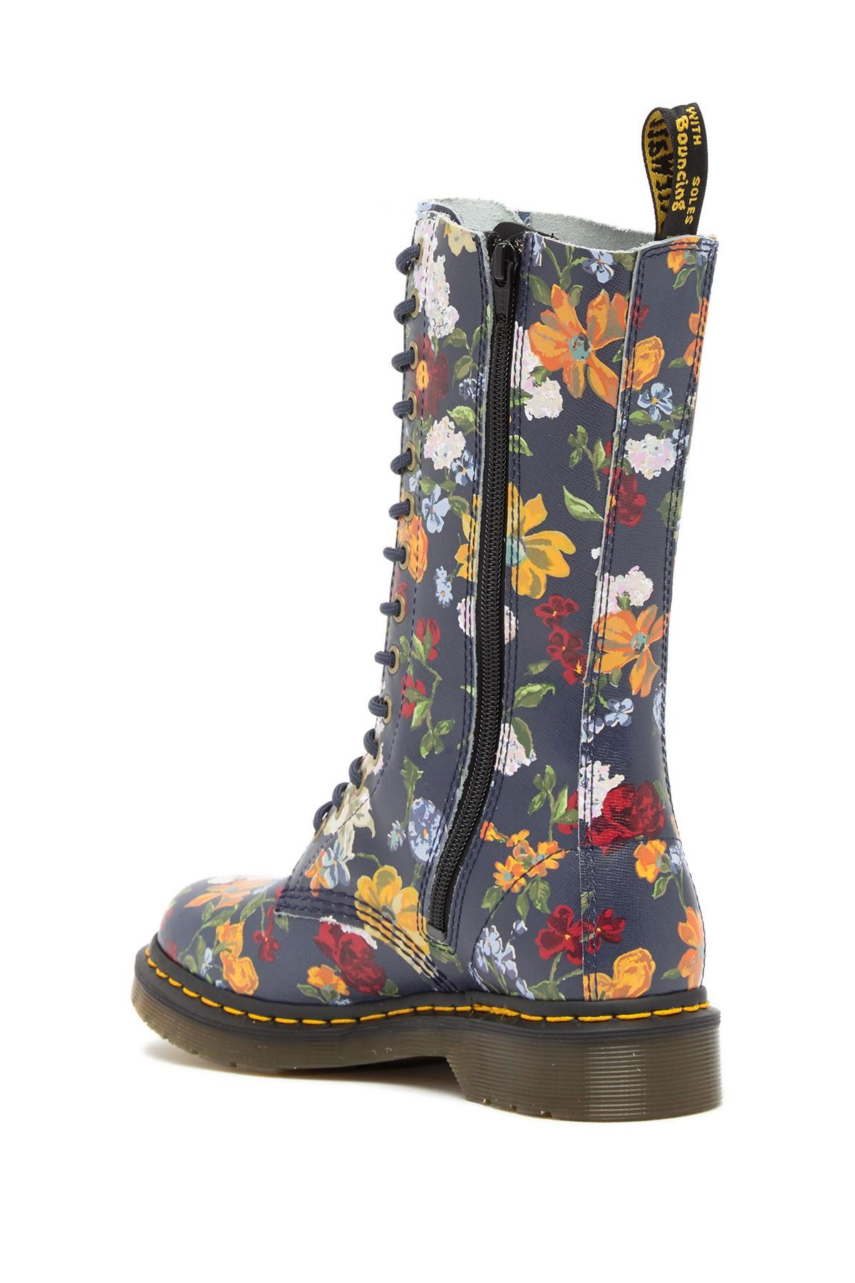 b8e2888714a Lyst - Dr. Martens 1b99 Darcy Floral Mid Calf Boot in Blue - Save 42%