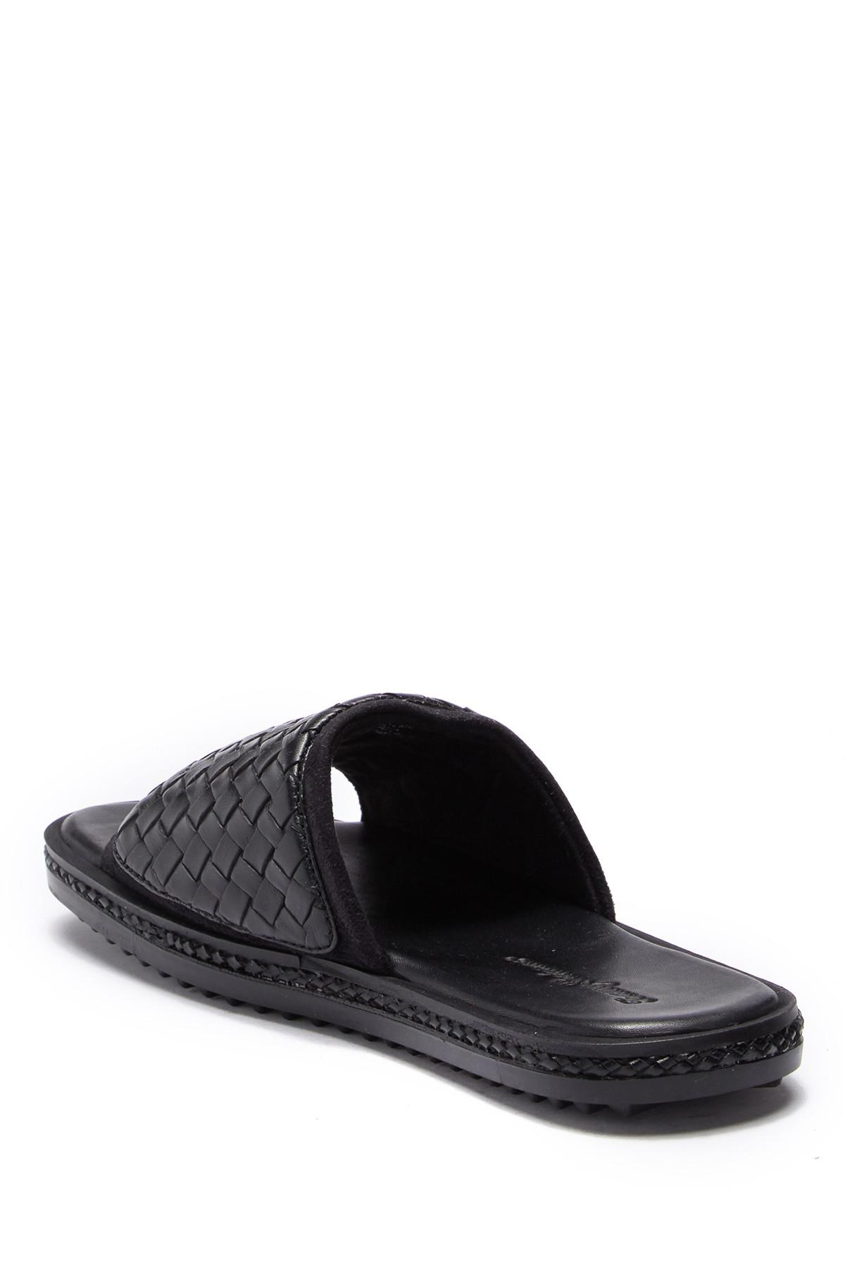 a0c726c64197f6 Tommy Bahama - Black Land Crest Leather Slide Sandal for Men - Lyst. View  fullscreen