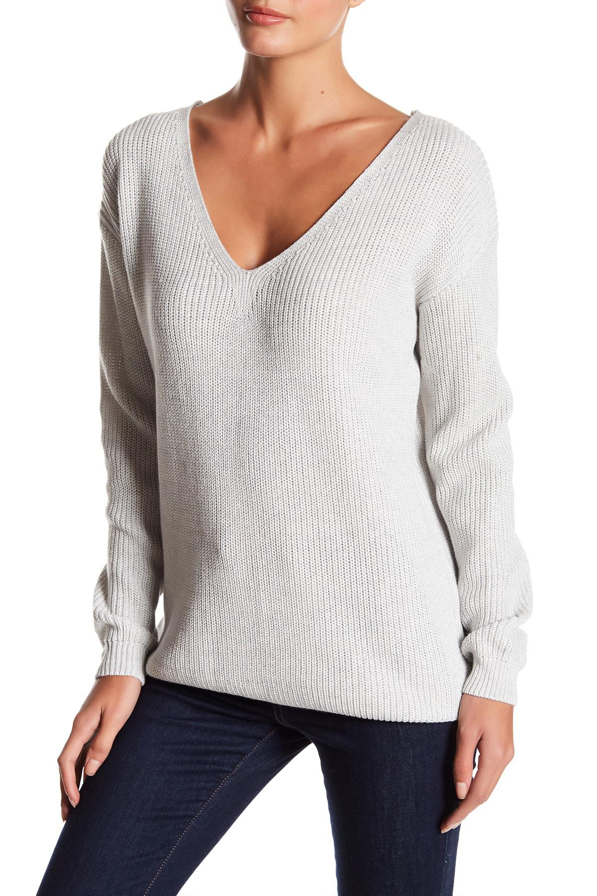a980cdd708 Lyst - Fate Knit Lace-up Back Sweater in Gray