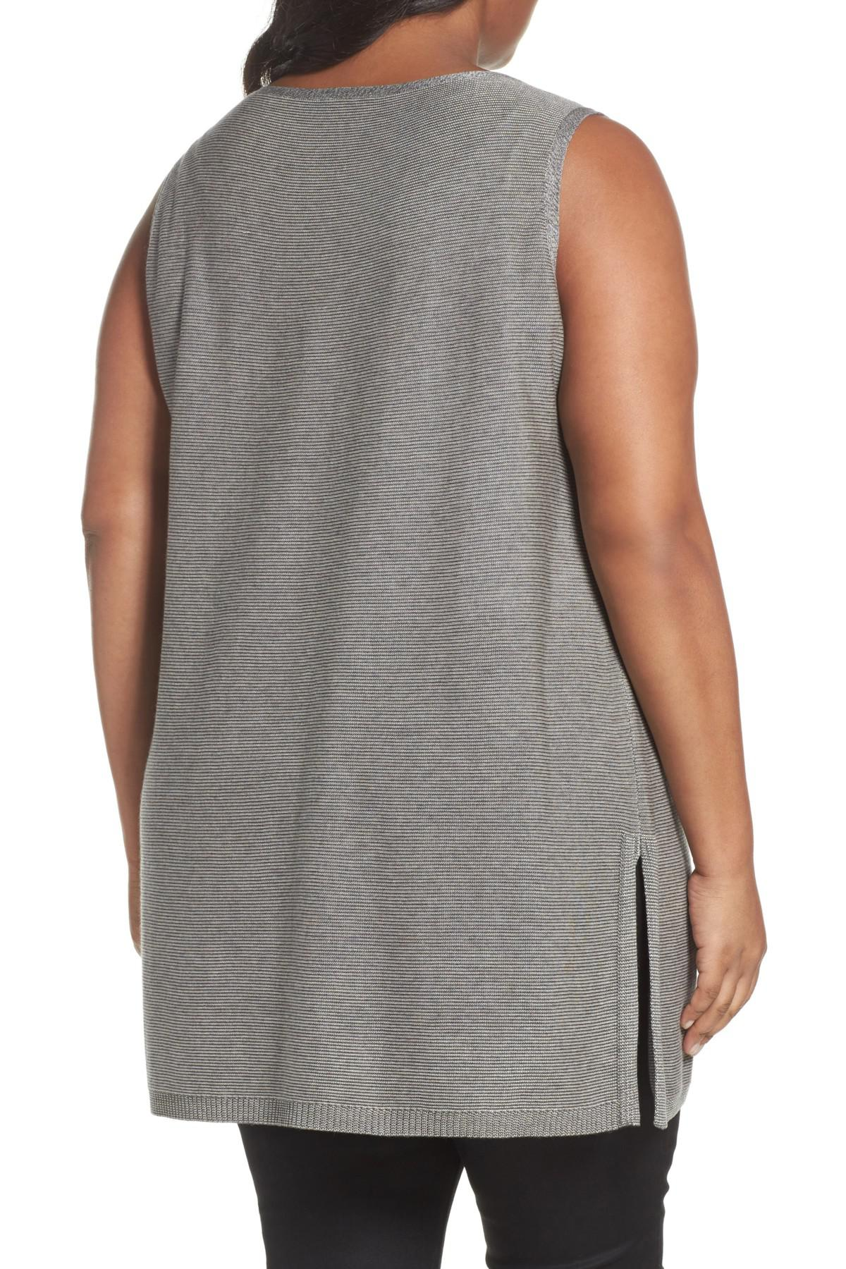 552091f262dbd Lyst - Eileen Fisher Tencel   Wool Sleeveless Tunic in Gray