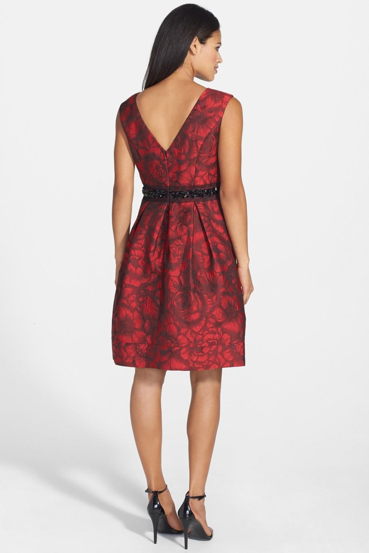 Eliza J Embellished Waist Brocade Fit Amp Flare Dress In