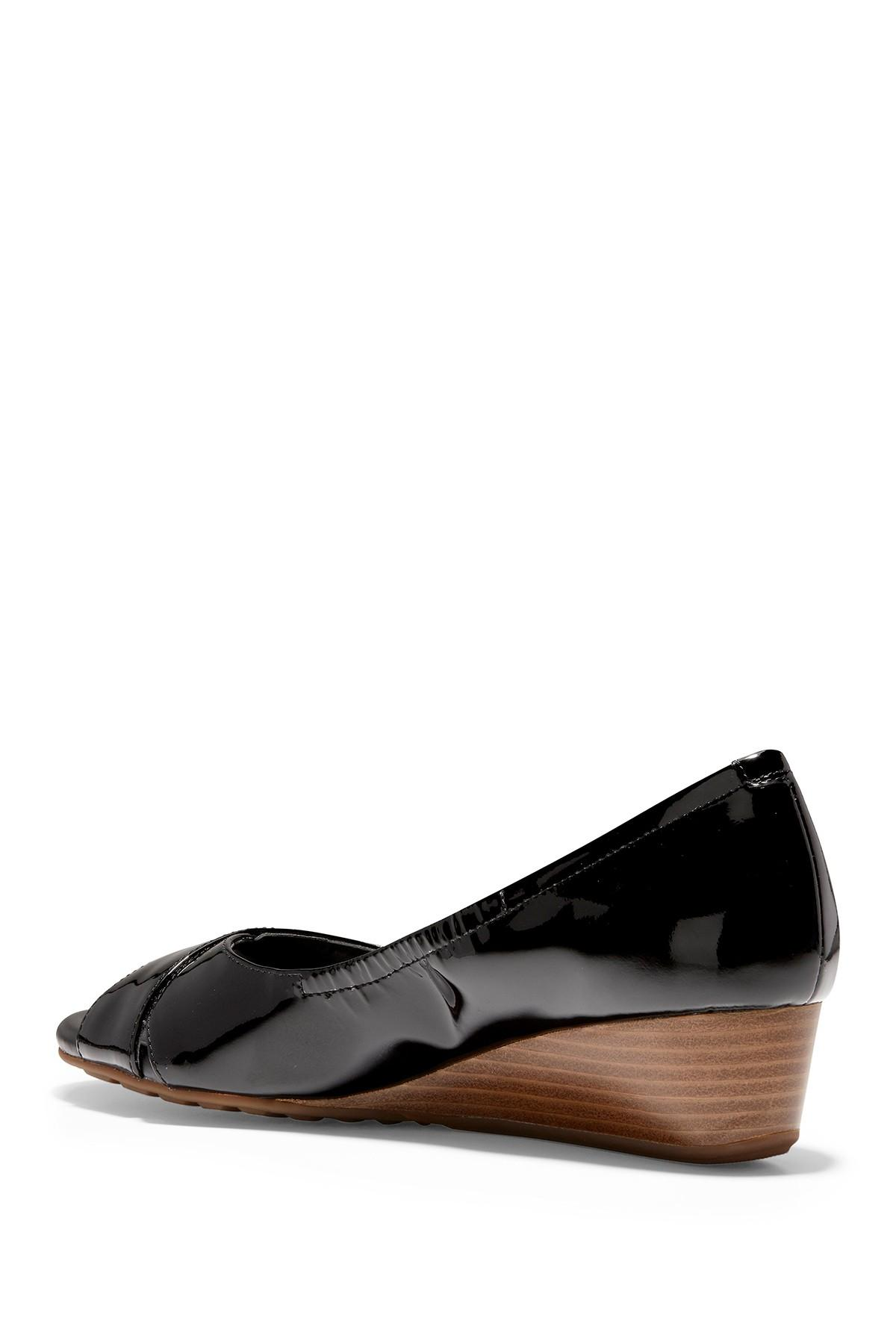 f7c6e16f0f Lyst - Cole Haan Melina Patent Open Toe Wedge in Black