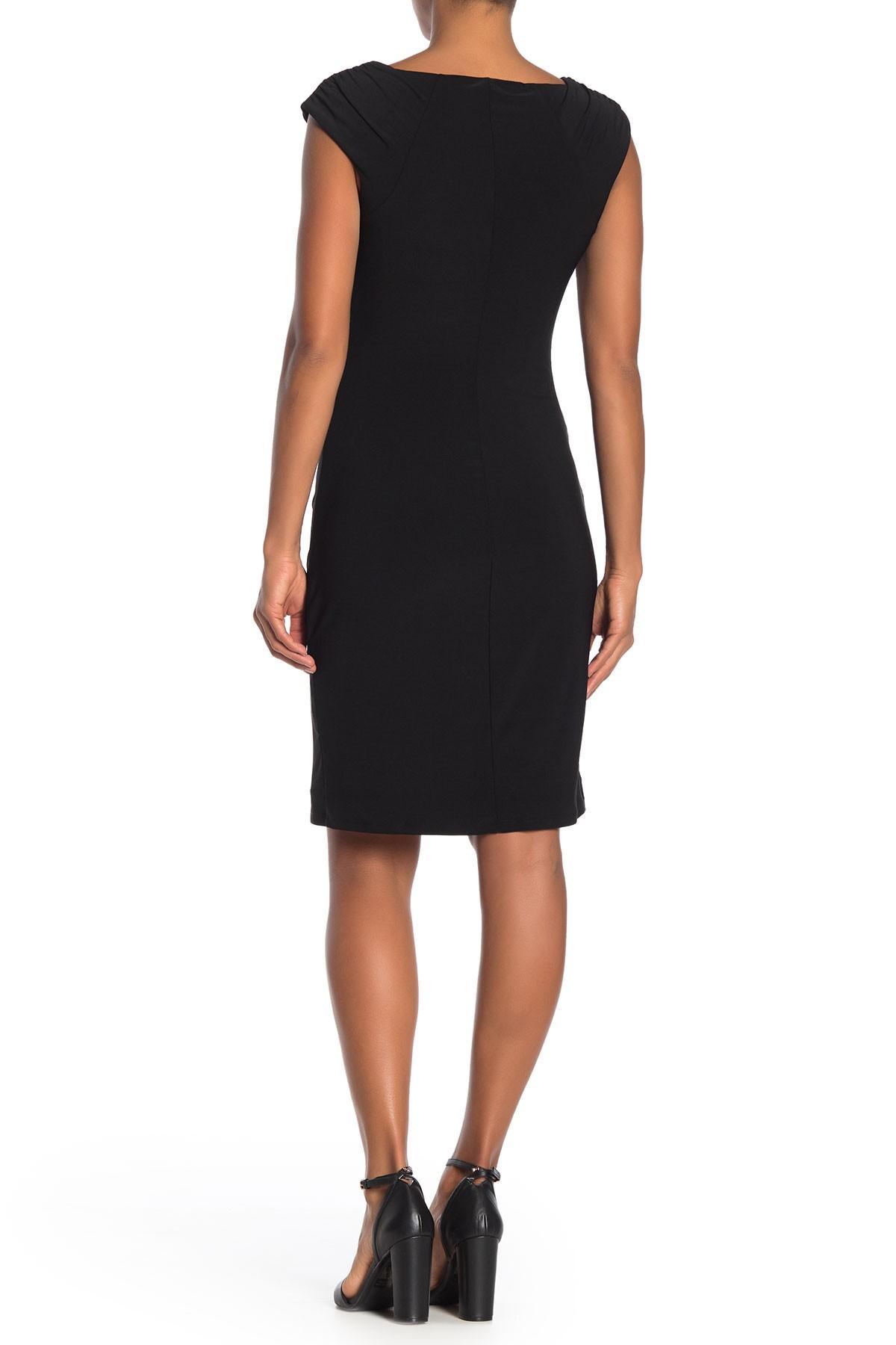 a32a7d5f7 Lyst - Catherine Malandrino Cap Sleeve Shirred Side Dress in Black