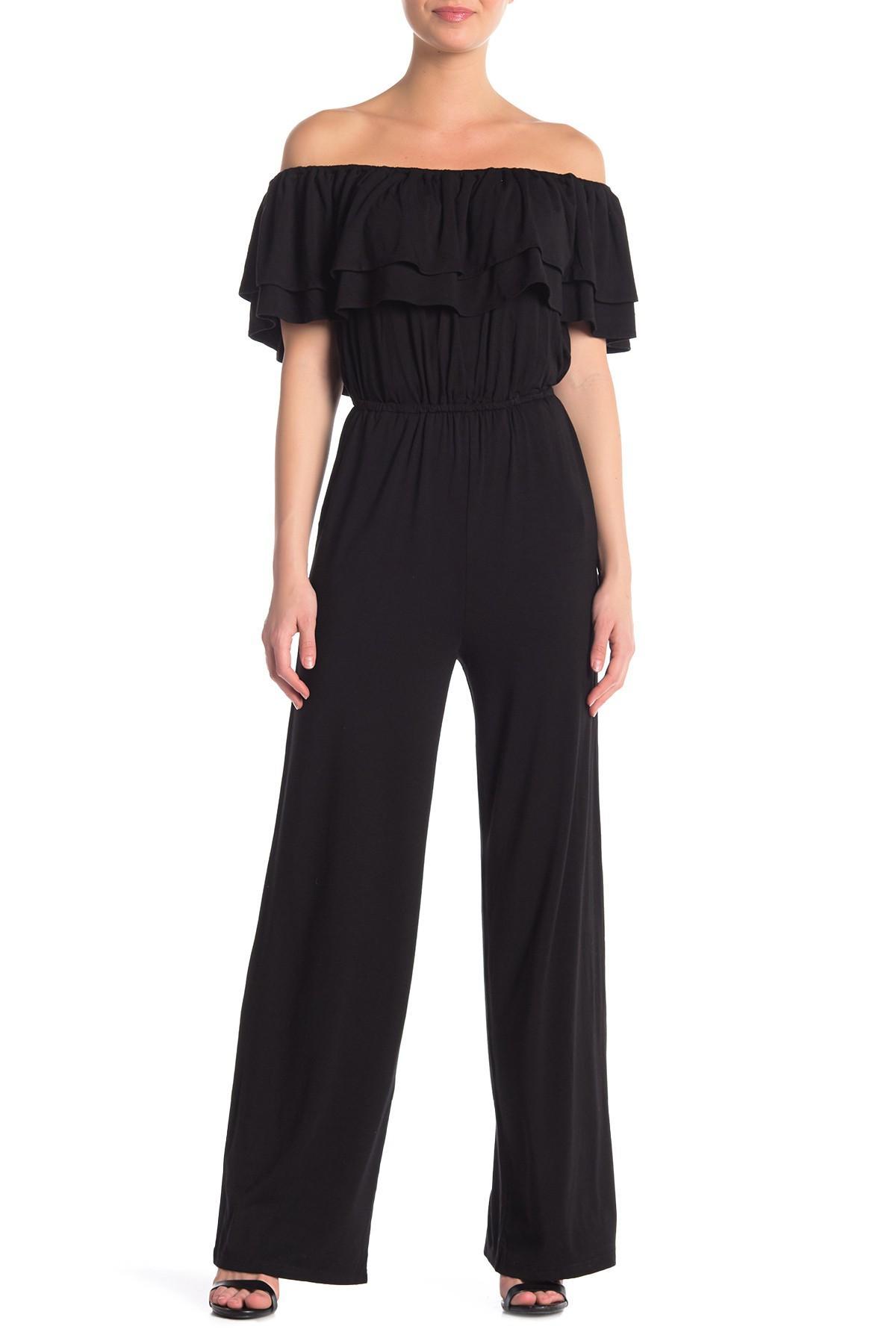 971ea331d680 Lyst - BB Dakota Ayres Off-the-shoulder Knit Jumpsuit in Black