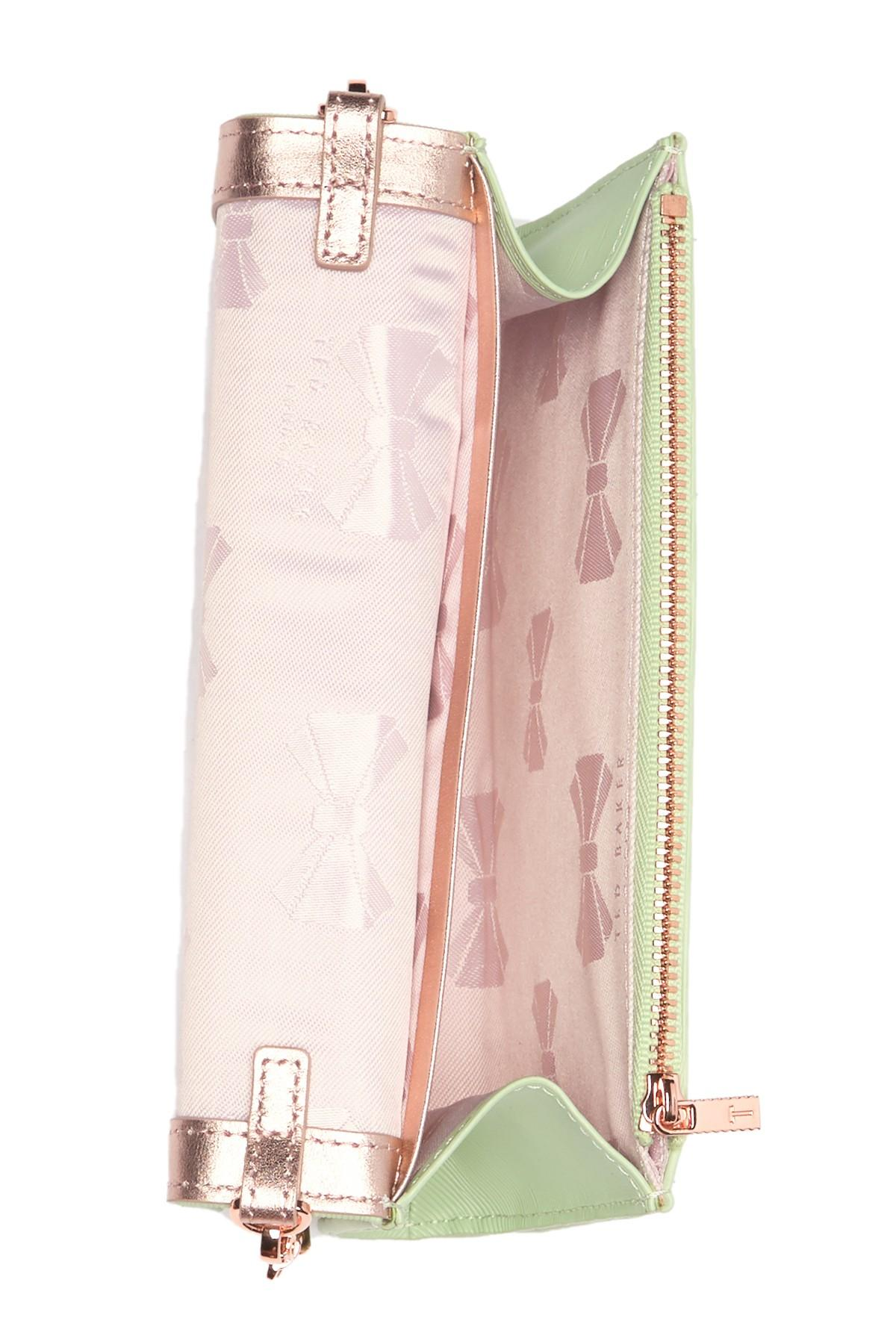 3e92b8c4ee6 Ted Baker - Green Melisia Bow Matinee Wallet On Chain - Lyst. View  fullscreen