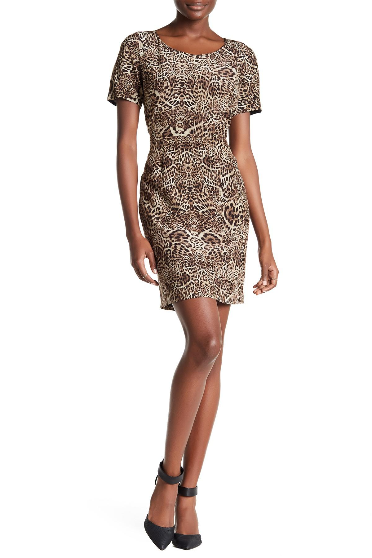The Kooples. Women's Short Sleeve Silk Leopard Print Dress