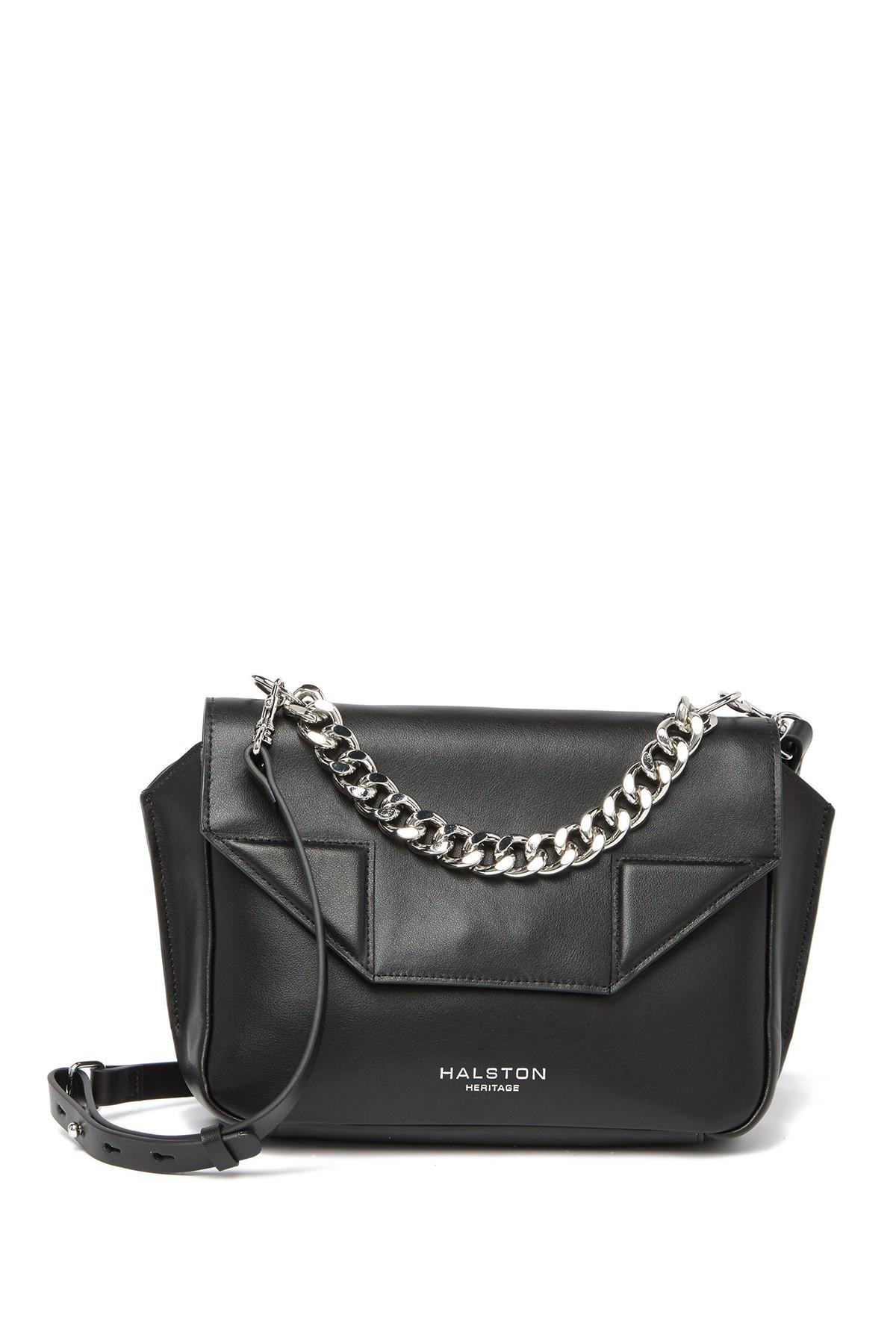 6df1050a46 Lyst - Halston Leather Crossbody Bag in Black