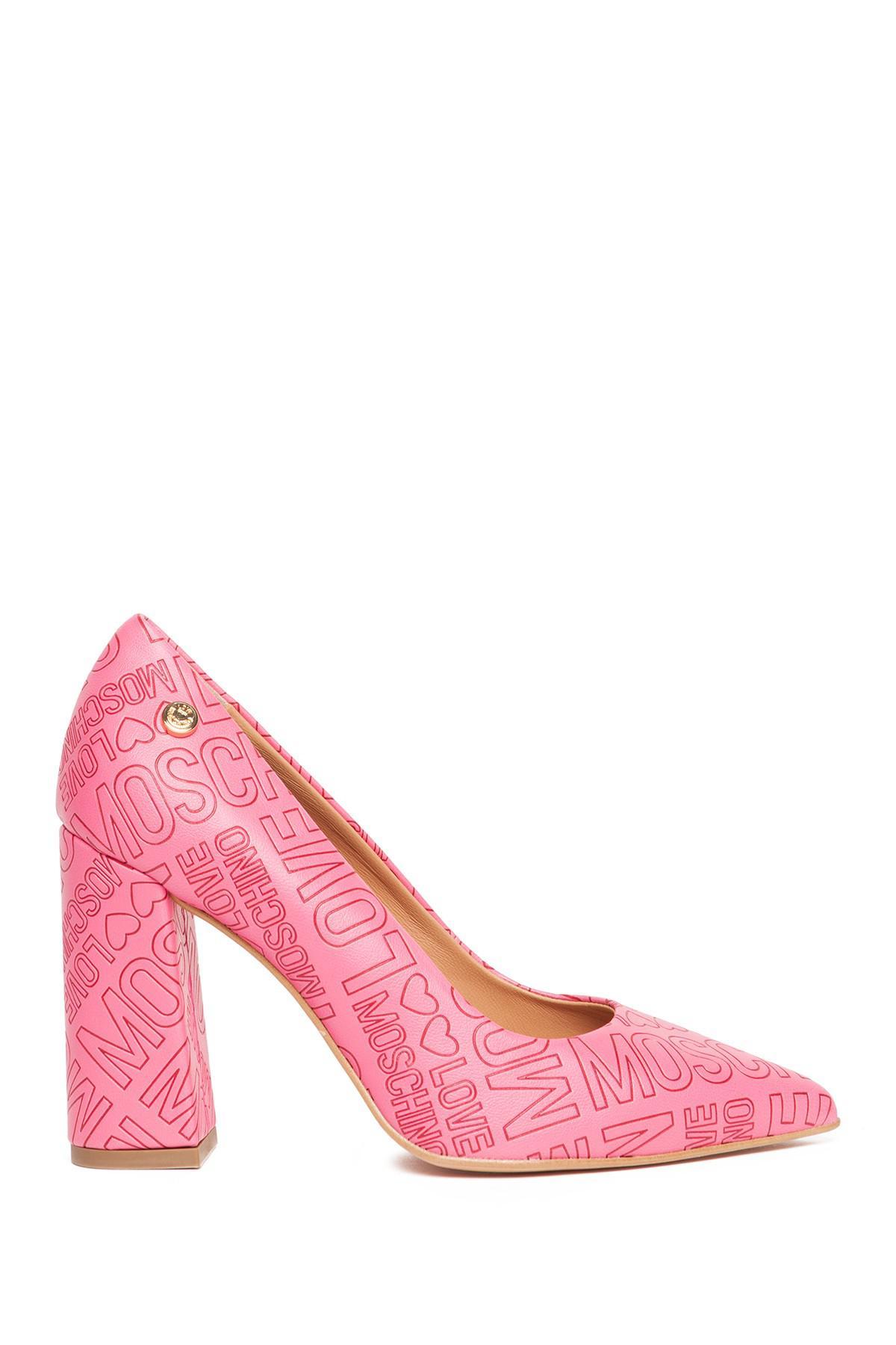 3f7ff47d3203 Lyst - Love Moschino Embossed Block Heel in Pink