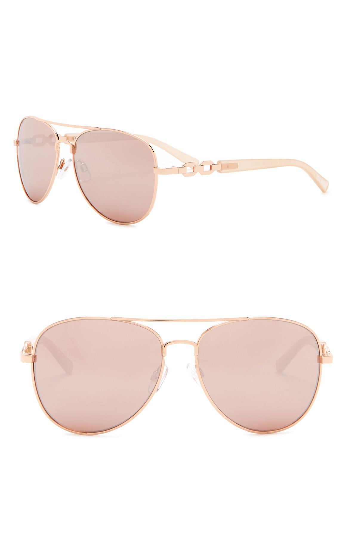 50214b03dc9 Lyst - Steve Madden 57mm Aviator With Chain Temple Sunglasses in Pink