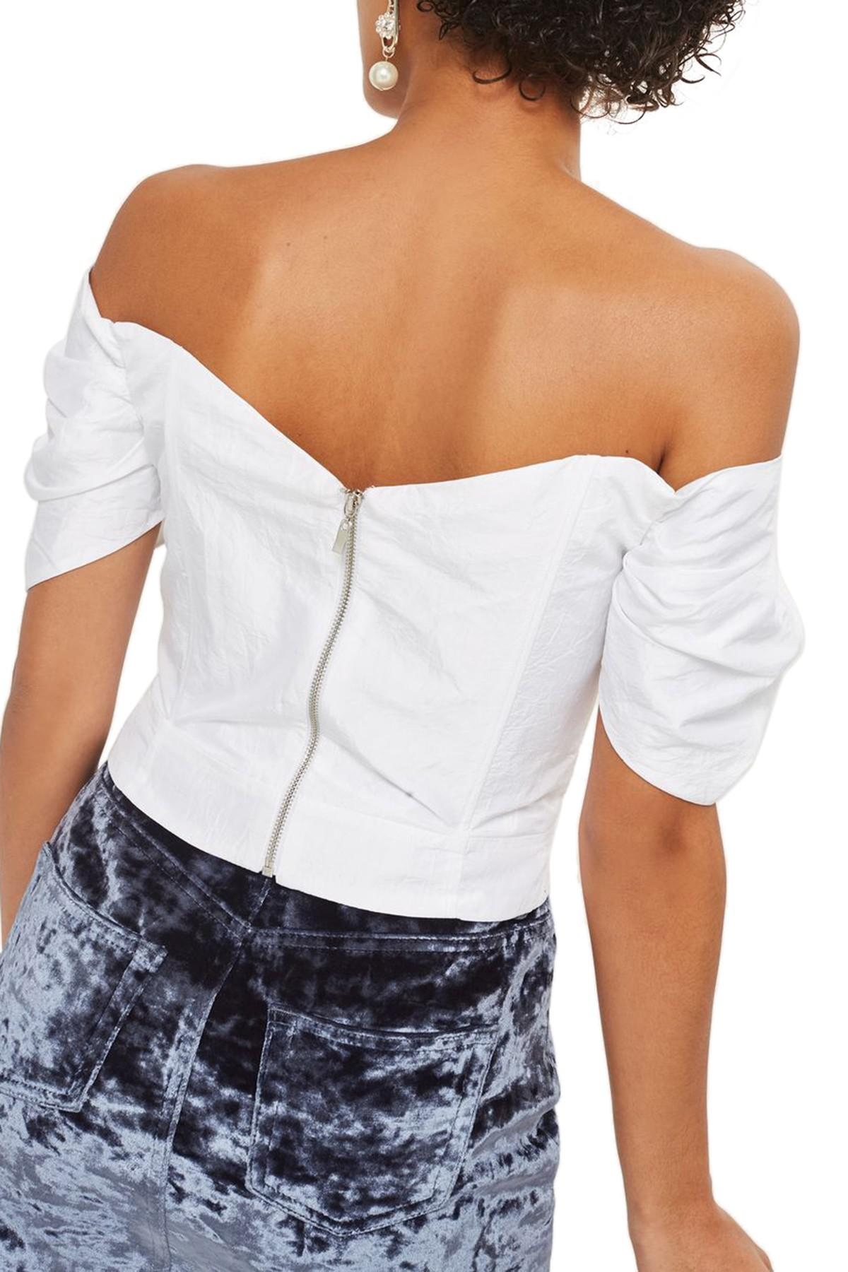 d79e4a78ba7df7 Lyst - TOPSHOP Puff Sleeve Taffeta Off The Shoulder Top in White
