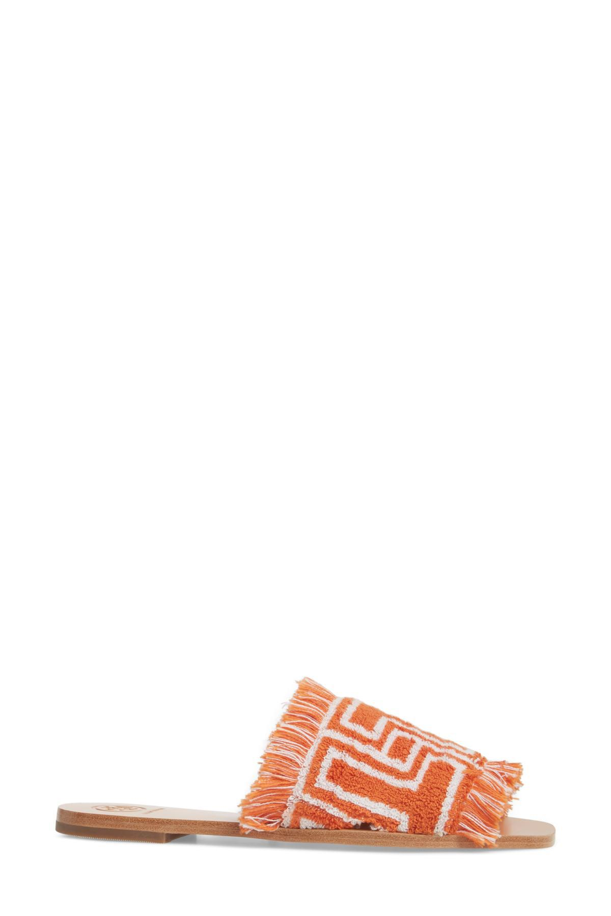 9240a62e57cd Lyst - Tory Burch Logo-intarsia Terry Slides in Orange