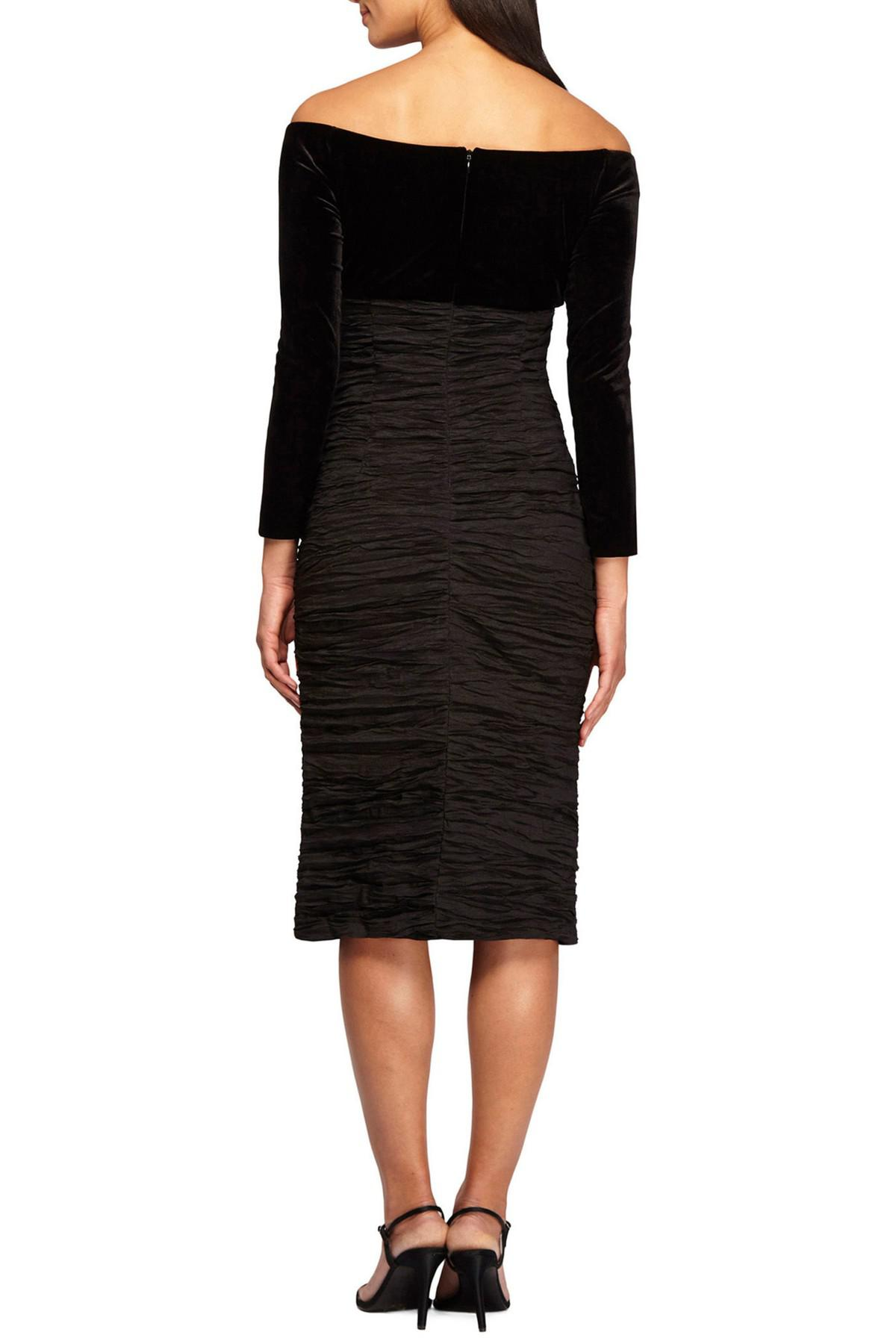 00602bca337 Lyst - Alex Evenings Off The Shoulder Velvet   Taffeta Sheath Dress ...