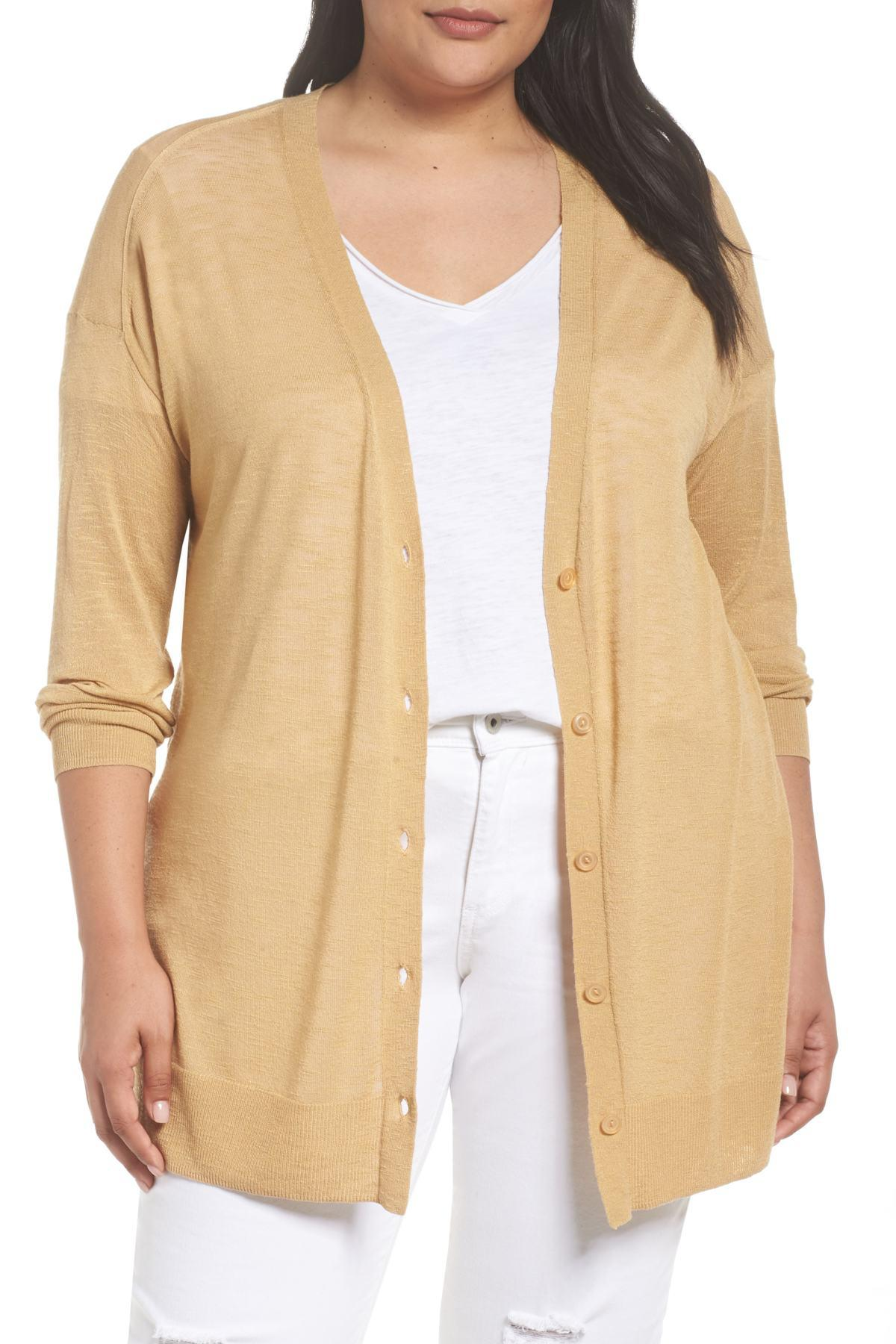 Lyst - Sejour Easy V-neck Cardigan (plus Size) in Natural 8b943ee7c