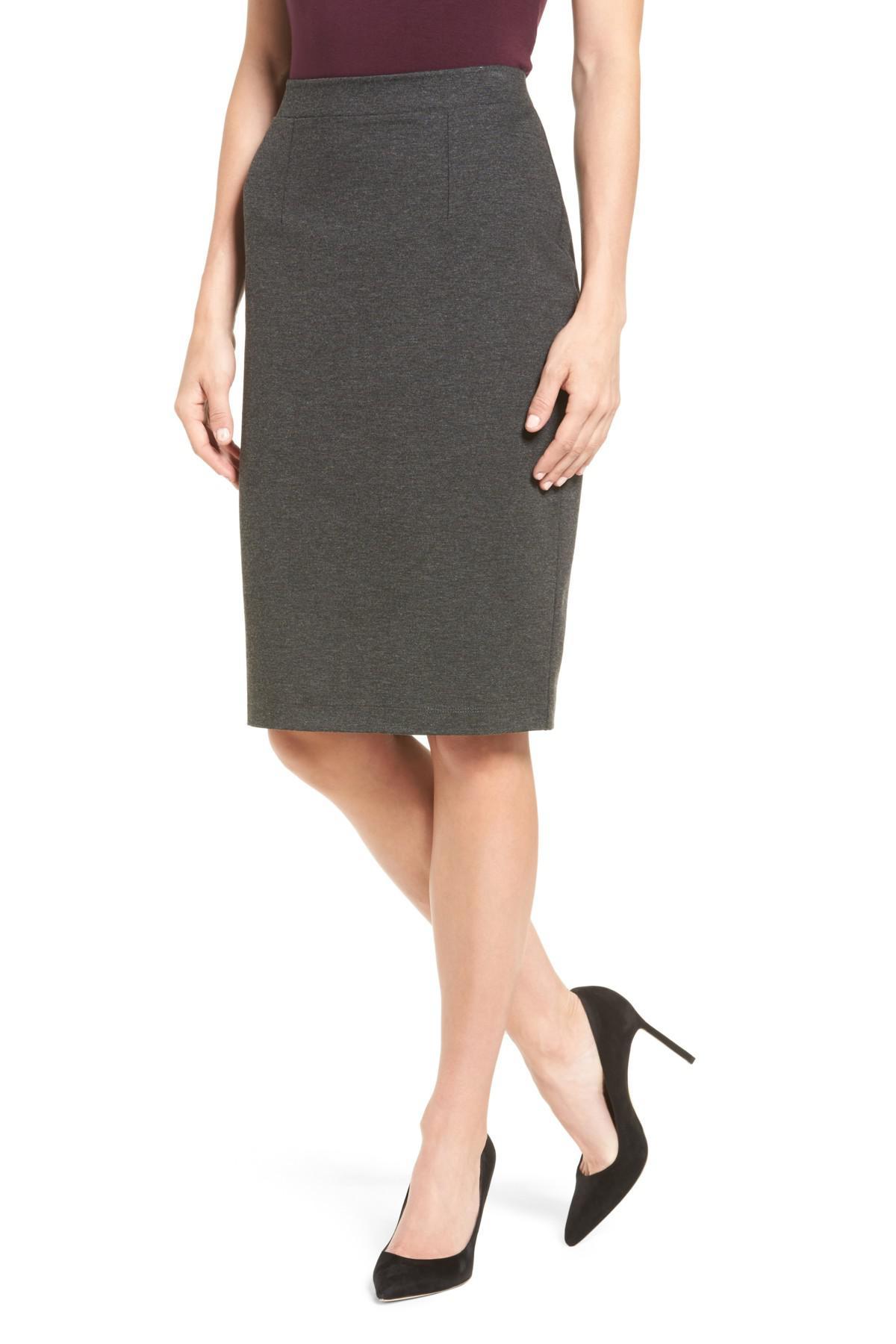 03ba5d27b Halogen (r) Ponte Pencil Skirt (regular & Petite) in Gray - Lyst