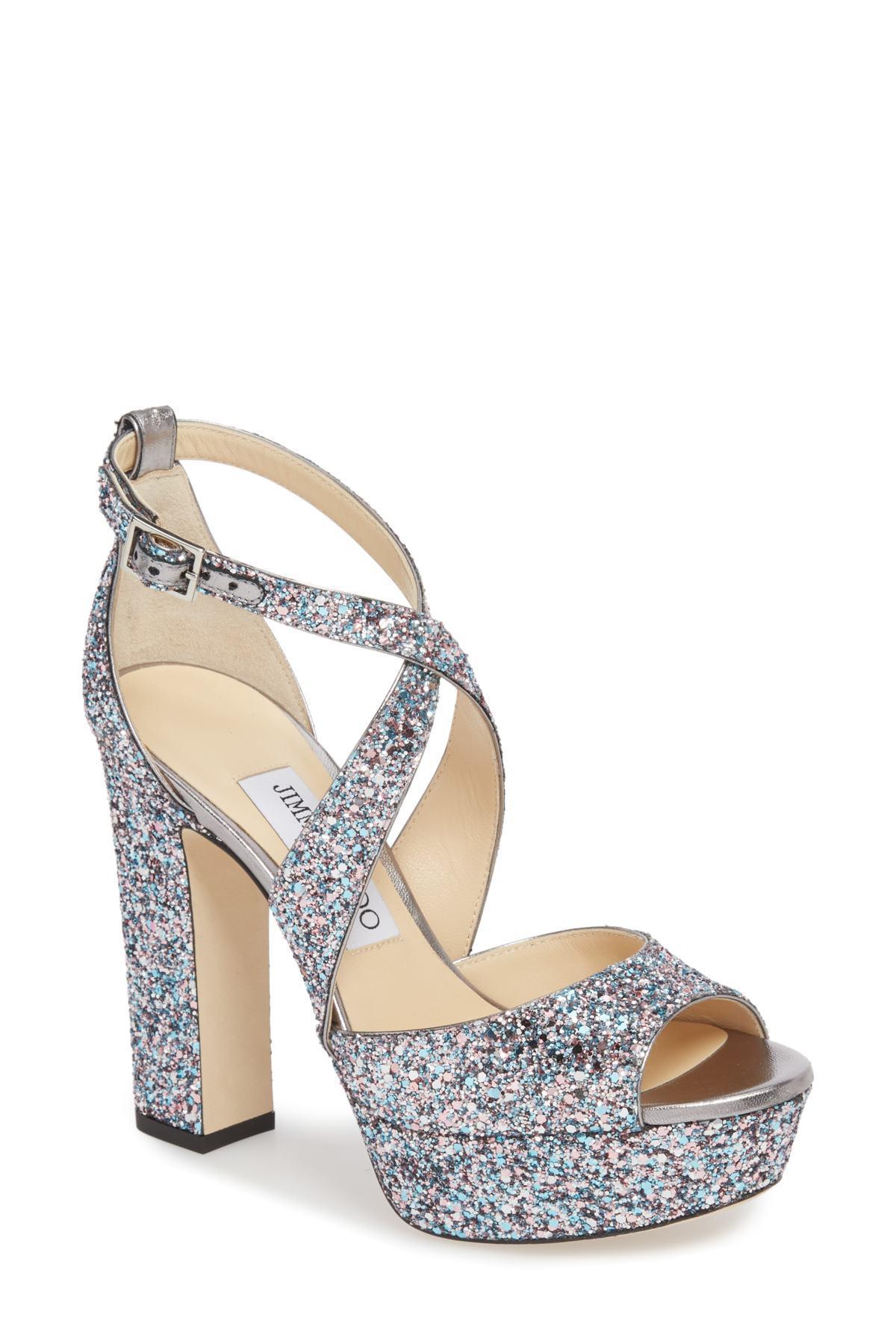 e103d17b1df Lyst - Jimmy Choo April Glitter Platform Sandal (women) (nordstrom ...